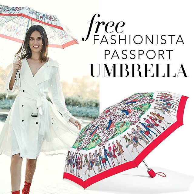 Filled with hand-sketched art, this umbrella inspired by jet-setting fashionistas is perfect for looking chic between raindrops. Stop in today to get yours FREE with your Brighton purchase of $100 or more! See store for details.