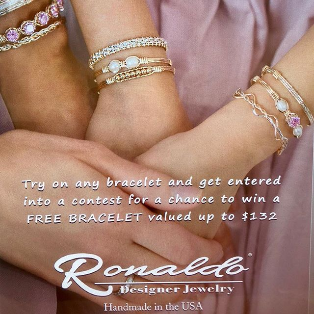 Stop by our Bartram or Julington Location and get introduced to Ronaldo! Try on a bracelet and enter a chance to win a Bracelet of your choice up to $132 value!! Pick up your Free mini catalog too! See store associates for all the details #ronaldojewelry
