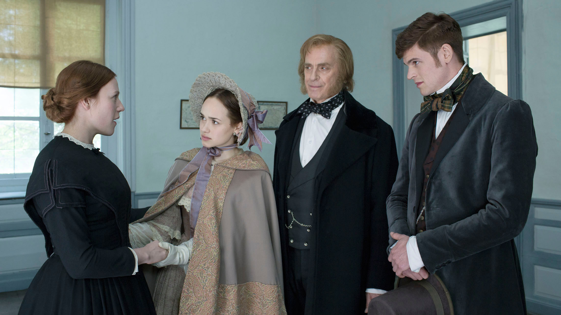 Emma Bell, Rose Williams, Keith Carradine and Benjamin Wainwright in A QUIET PASSION directed by Terrence Davies - DoP Florian Hoffmeister. Courtesy Hurricane Films/Potemkino