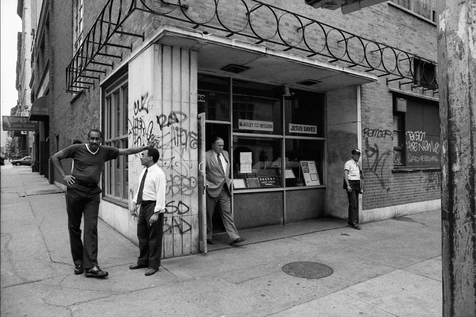 Mr. Varn Hagen walks out, Mc Auley Water Street Mission, NYC
