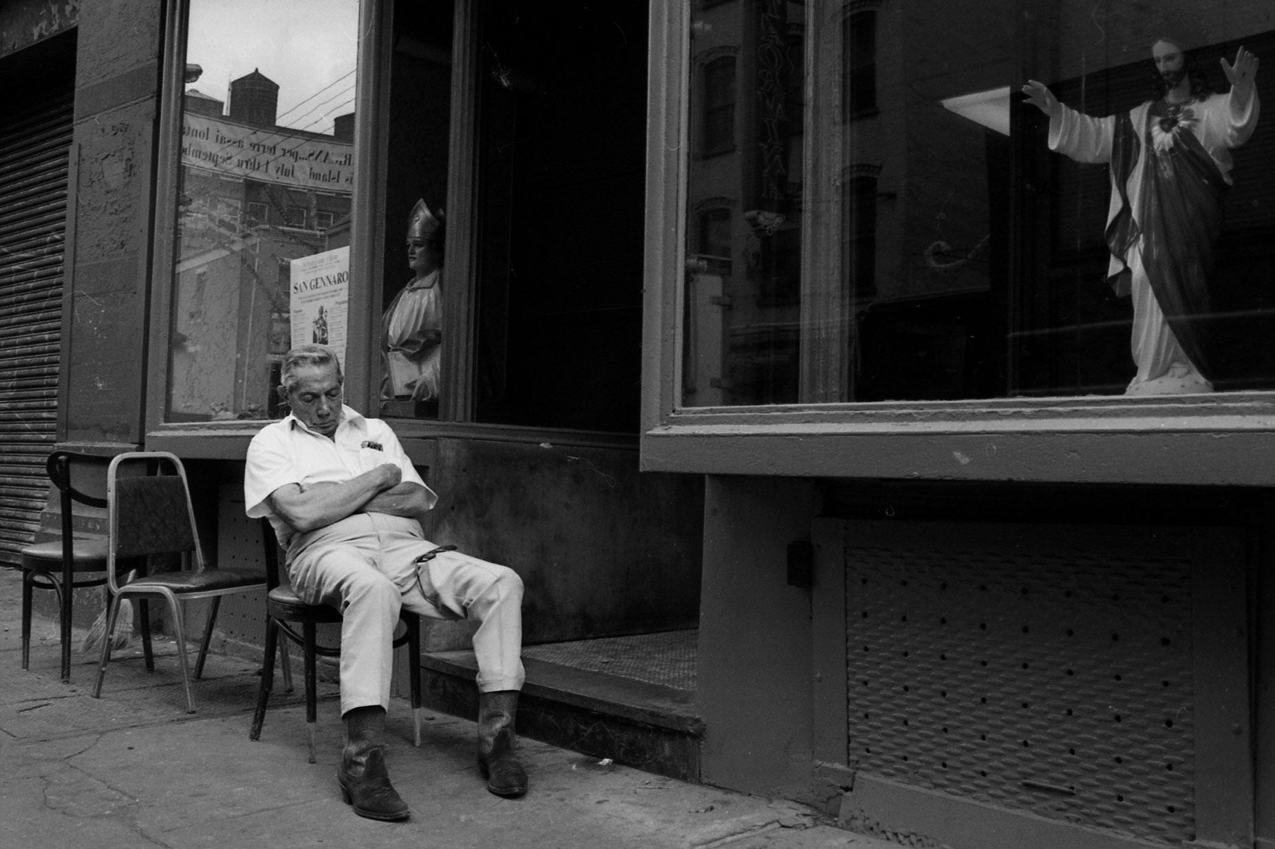 Sidewalk nap, Little Italy, NYC