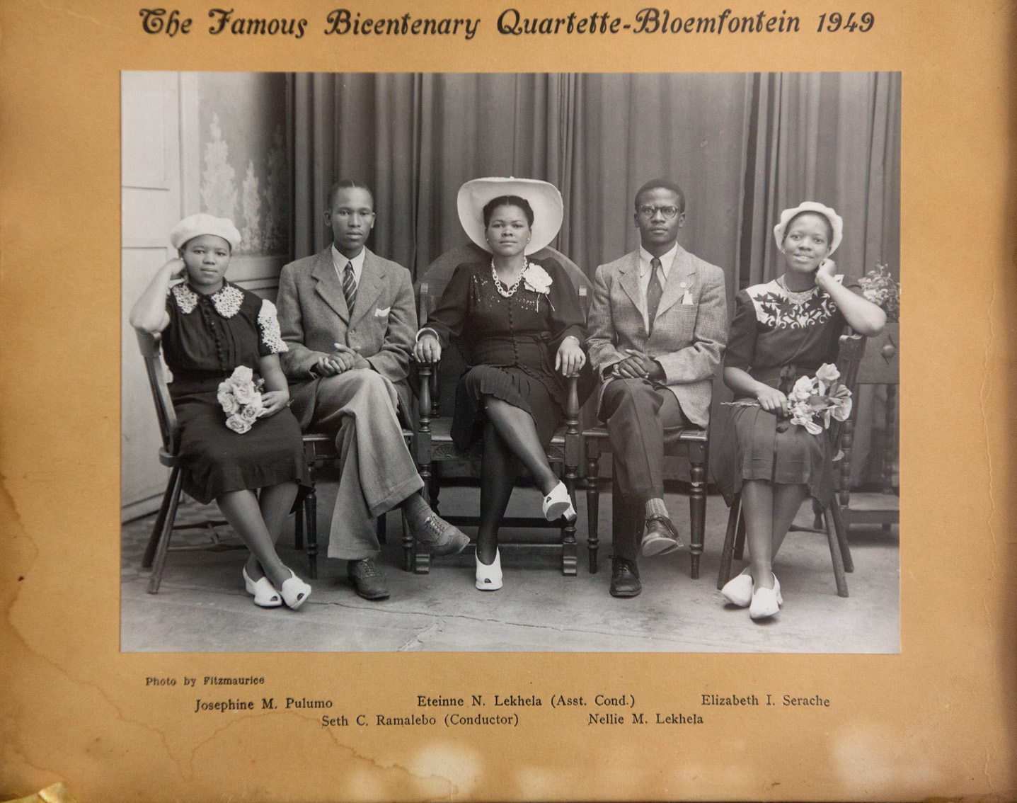 """""""The Famous Bicentenary Quartette - Bloemfontein"""" dated 1949. They all sang in a church choir. Khotso's great-aunt Josephine was one of the leading sopranos."""