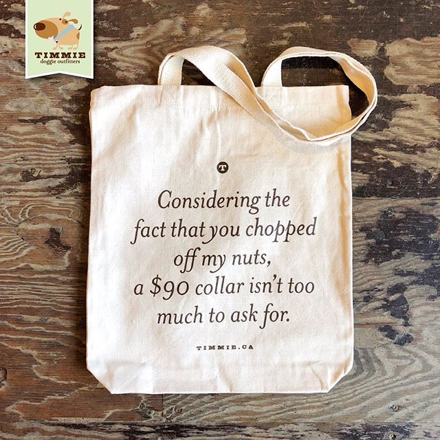 """Introducing the Timmie Tote! Well suited to carrying all your doggies needs like food, treats and that muddy park tennis ball. Made of 10oz natural cotton canvas, that's 13"""" x 16"""" with a 2.5"""" bottom. -  #TimmieDoggieOutfitters #Tote #ToteBag #ReusableBag #Reusable #Bag #ToteBagCanvas #Cute #OnFleek #Dog #OnPoint #Furbaby #Adorable #DogLover #AnimalLover #InstaCute #Instalove #InstaHappy #InstaMood #PuppiesOfInstagram #Dogstagram #DogsofInstagram #Woof #MansBestFriend #SupportLocal #Boutique #Toronto"""