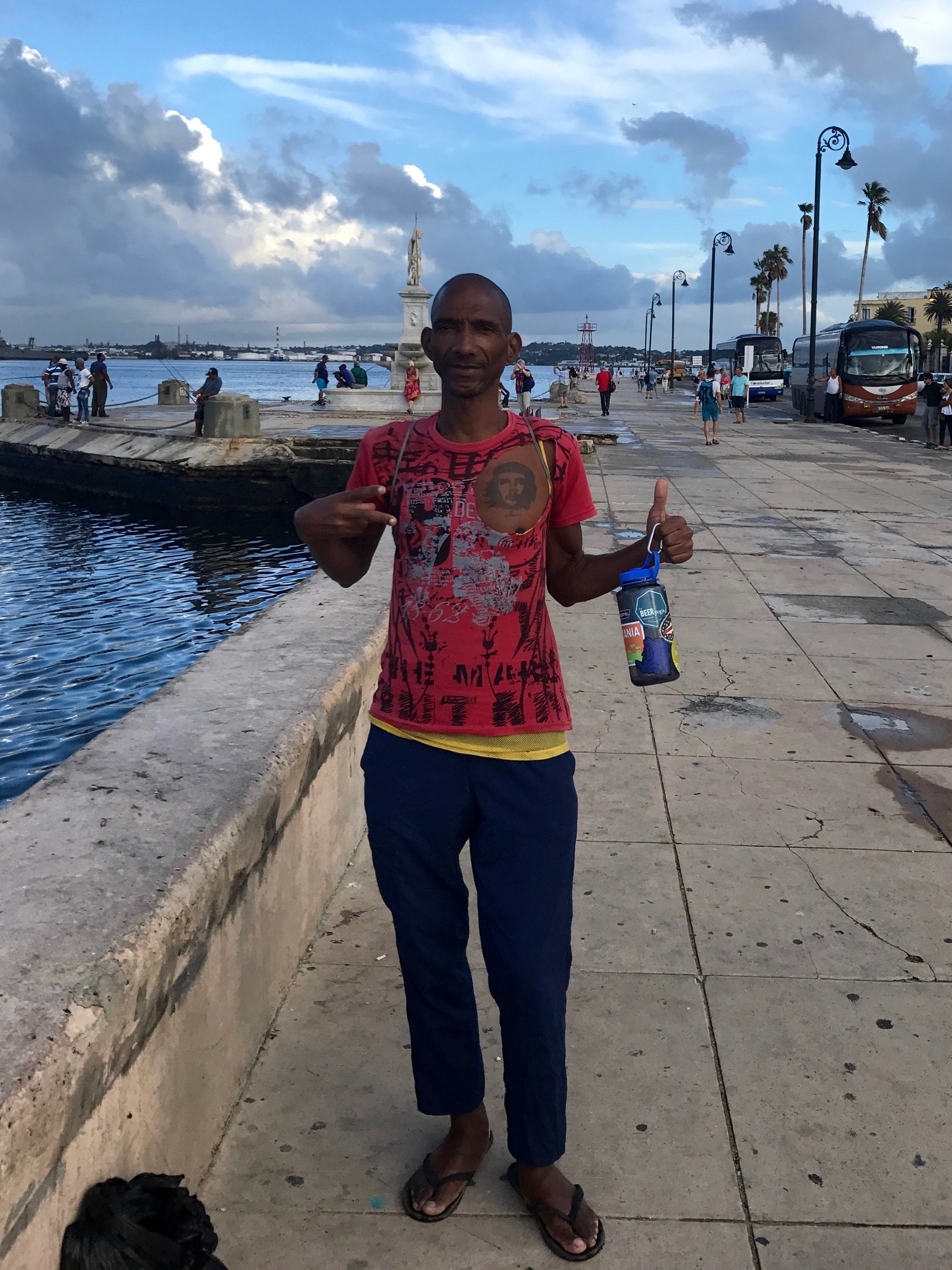 this havana local struck up convo with us as we sat overlooking the waterway to the city's forts. he told us about his life in cuba v the states v back in cuba. he lived in chicago and minnesota. he knew where cleveland was. he wanted sean's water bottle as a memento. requested we leave with a photo of him. we thought there was no way his stories were true. then we're pretty sure we noticed him pop up in a music video someone had posted to my facebook page before we went on our trip.  assume you know nothing. keep learning. ;-)
