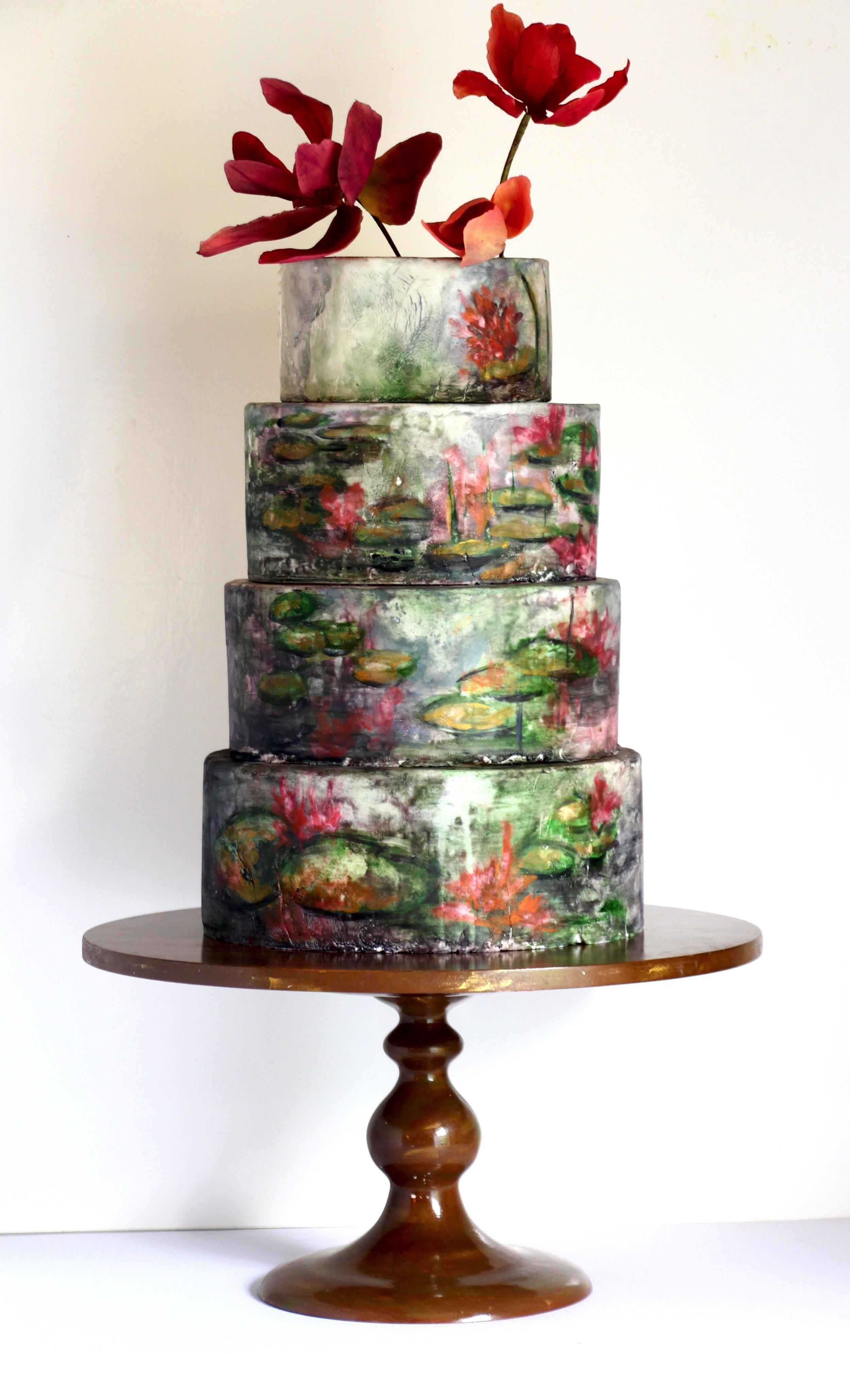 wedding cake, trinidad and tobago -hand-painted lotus by jaime gerard cake