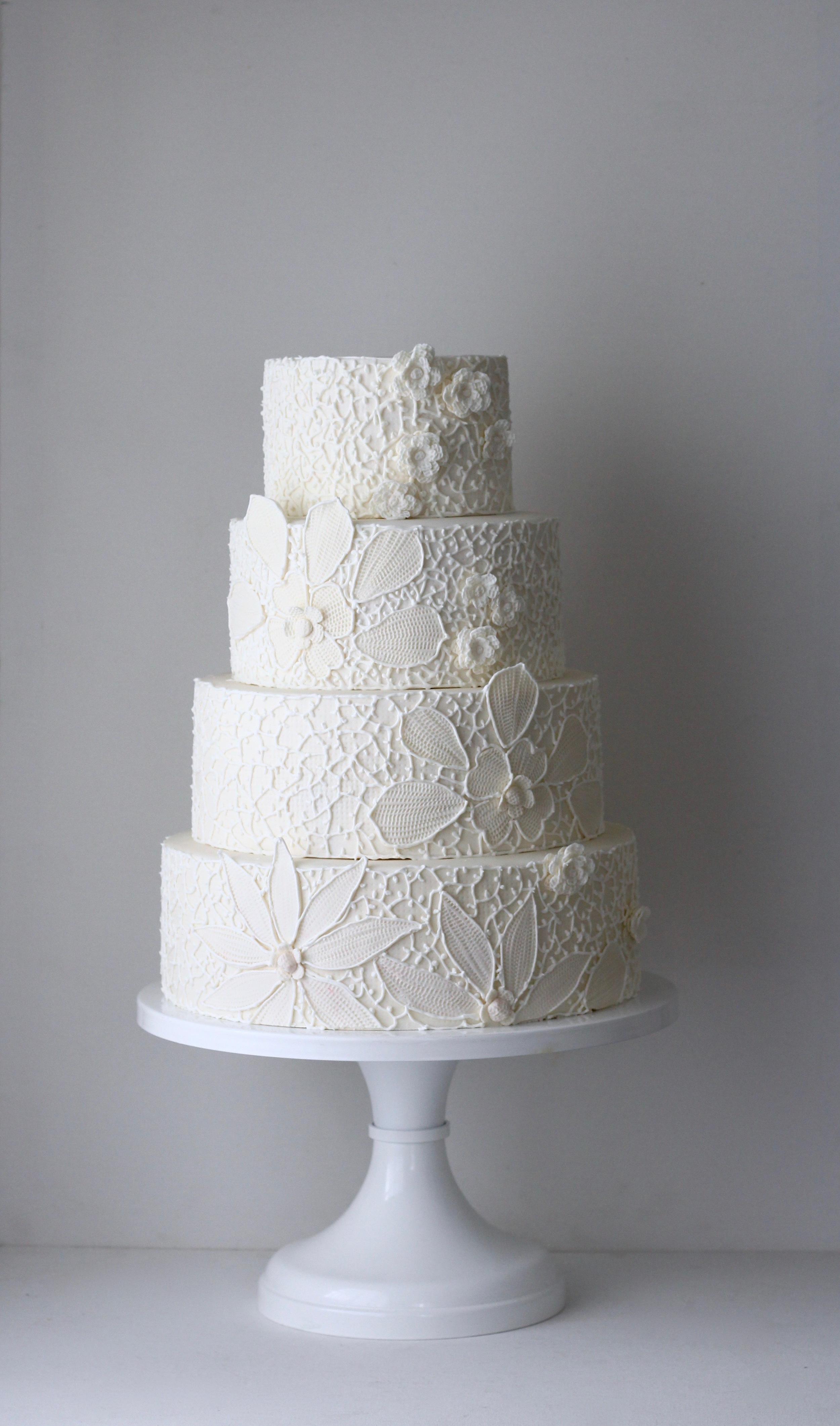Irish crochet lace inspired wedding cake by jaime gerard cake