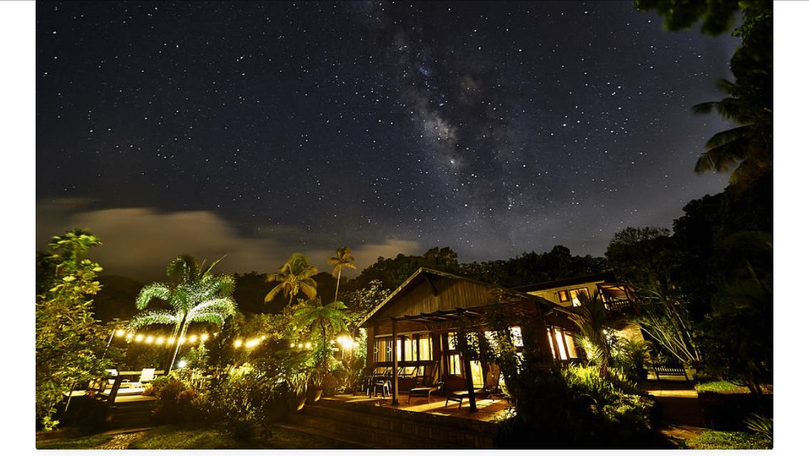 The Garden Suite Villa  has amazing views of the stars, sometimes the Milky Way.