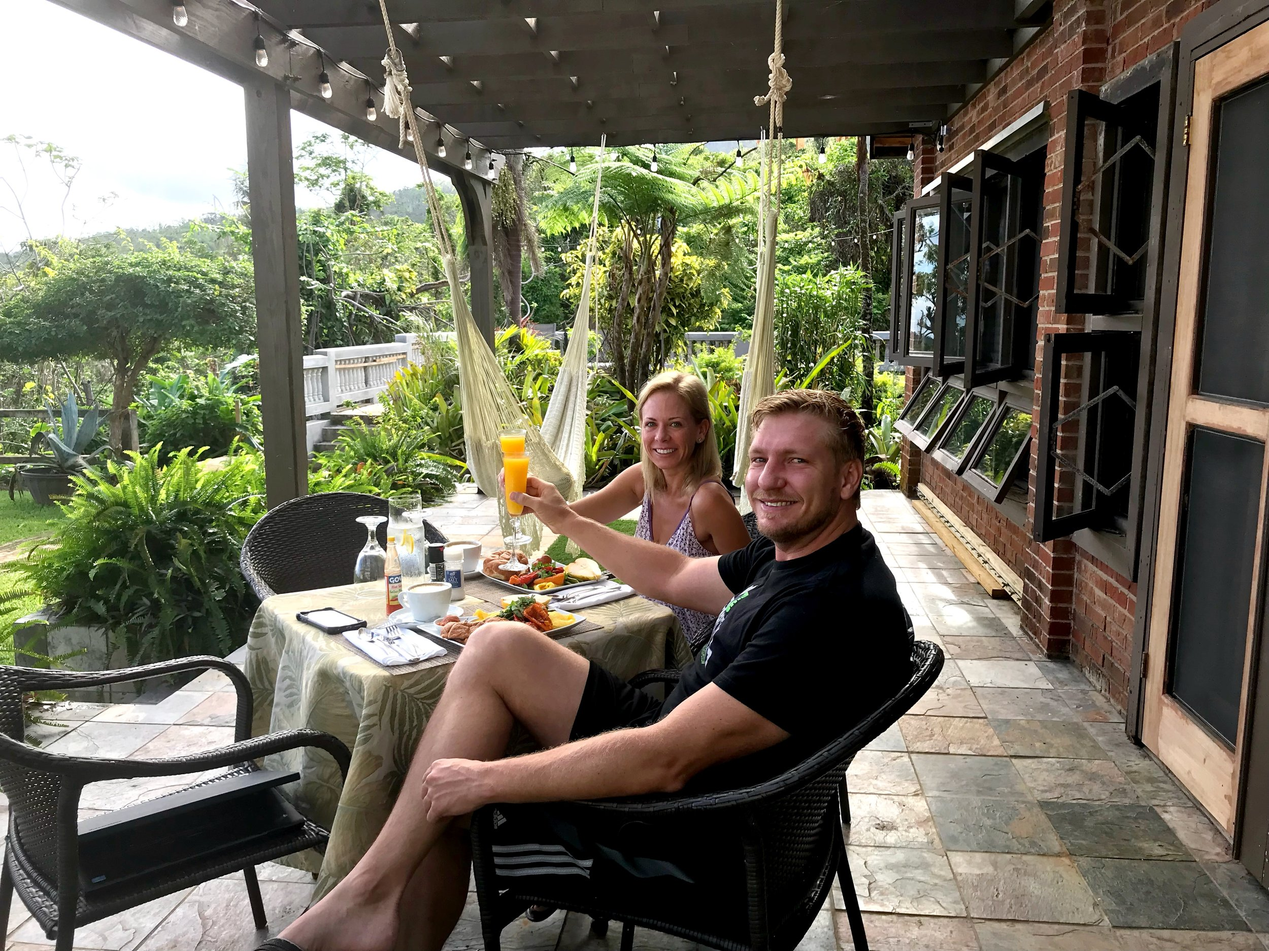 """Our guests from San Juan said: """"Breakfasts on the porch are just priceless and delicious besides having excellent taste in all the details of the presentation""""."""