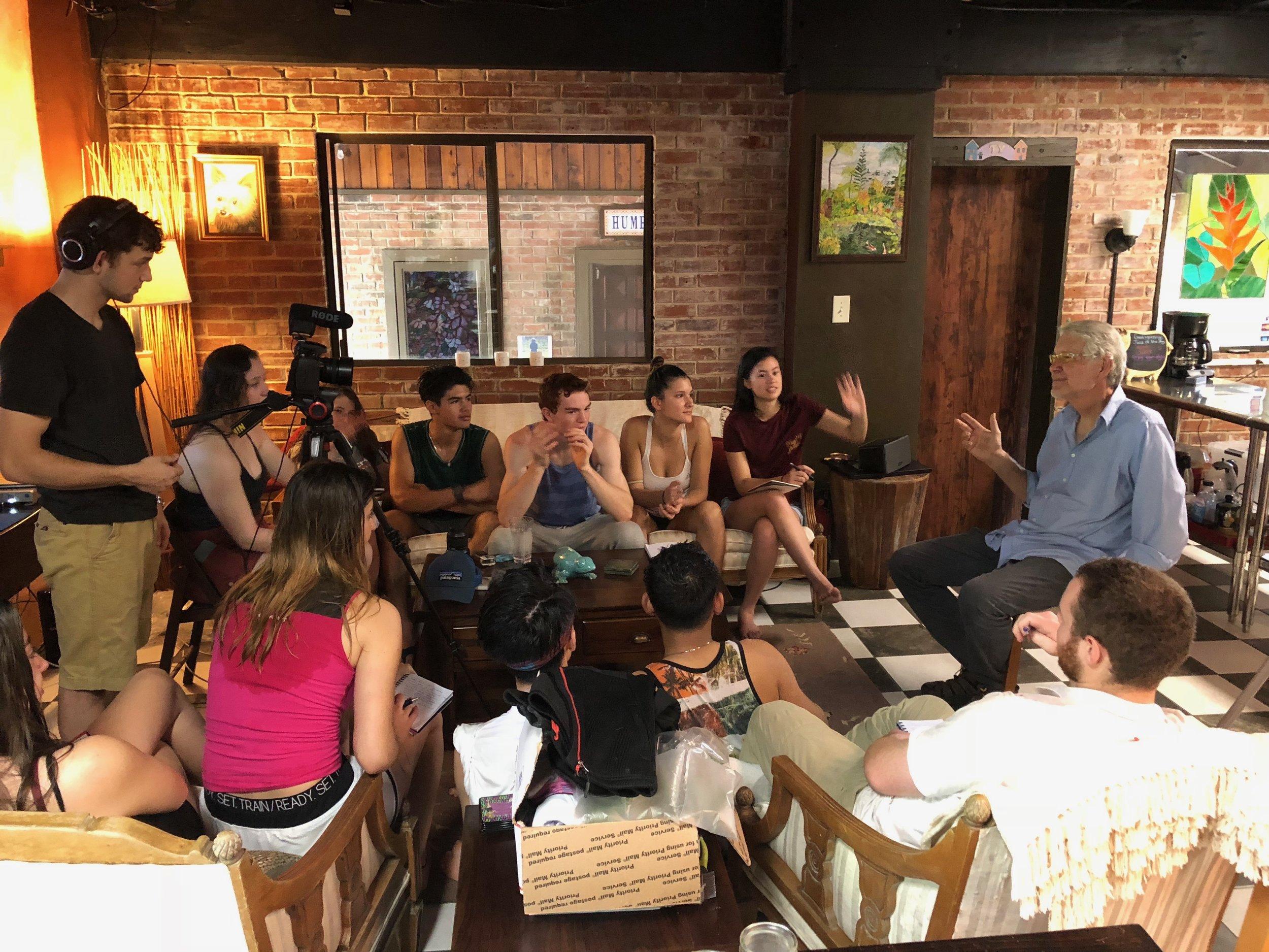 Students at Rainforest Inn interviewing Bill Humphrey