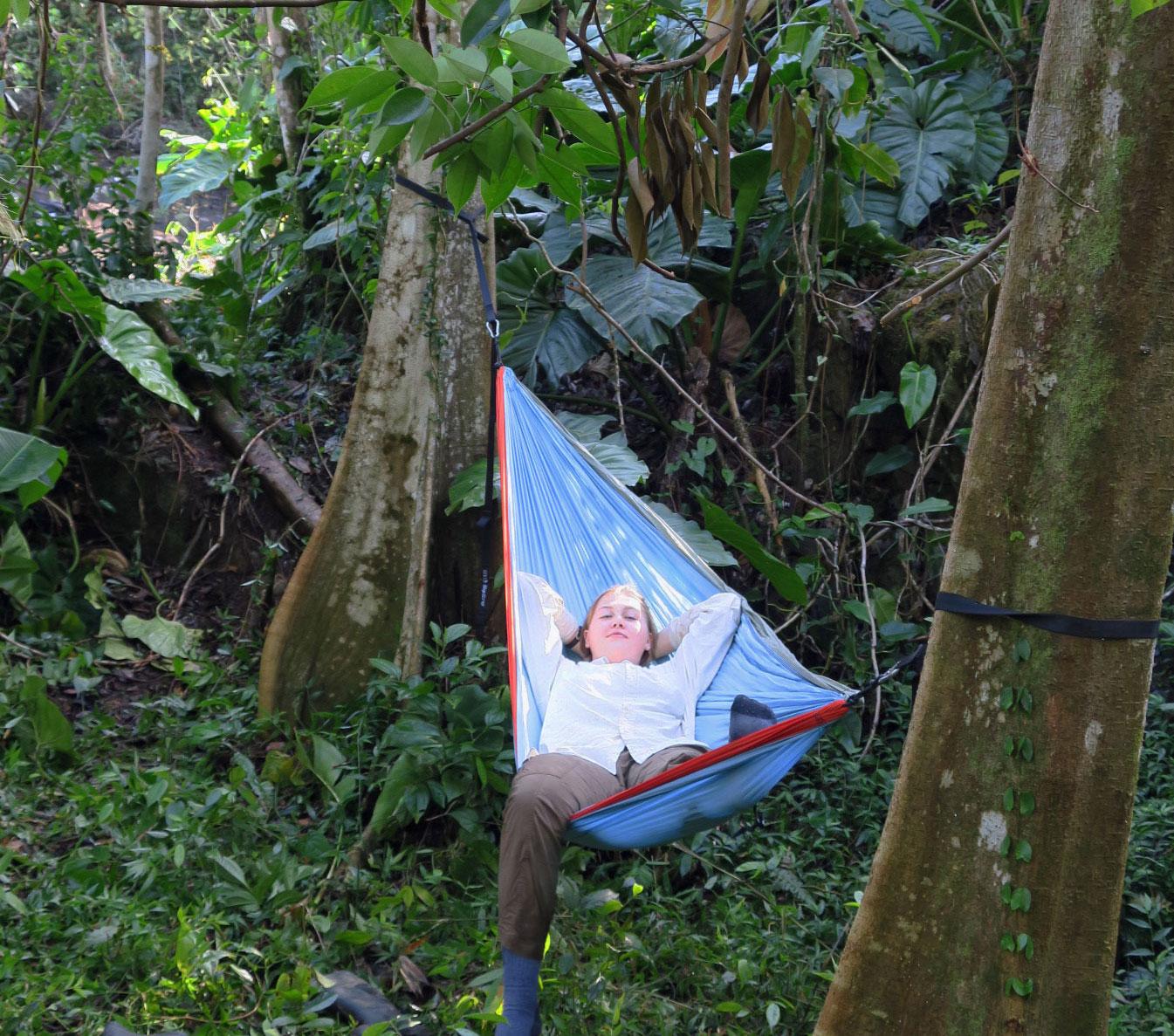"Relaxing on the Rainforest Inn's ""Lost Machete"" Trail. We furnish hammocks (just ask)."