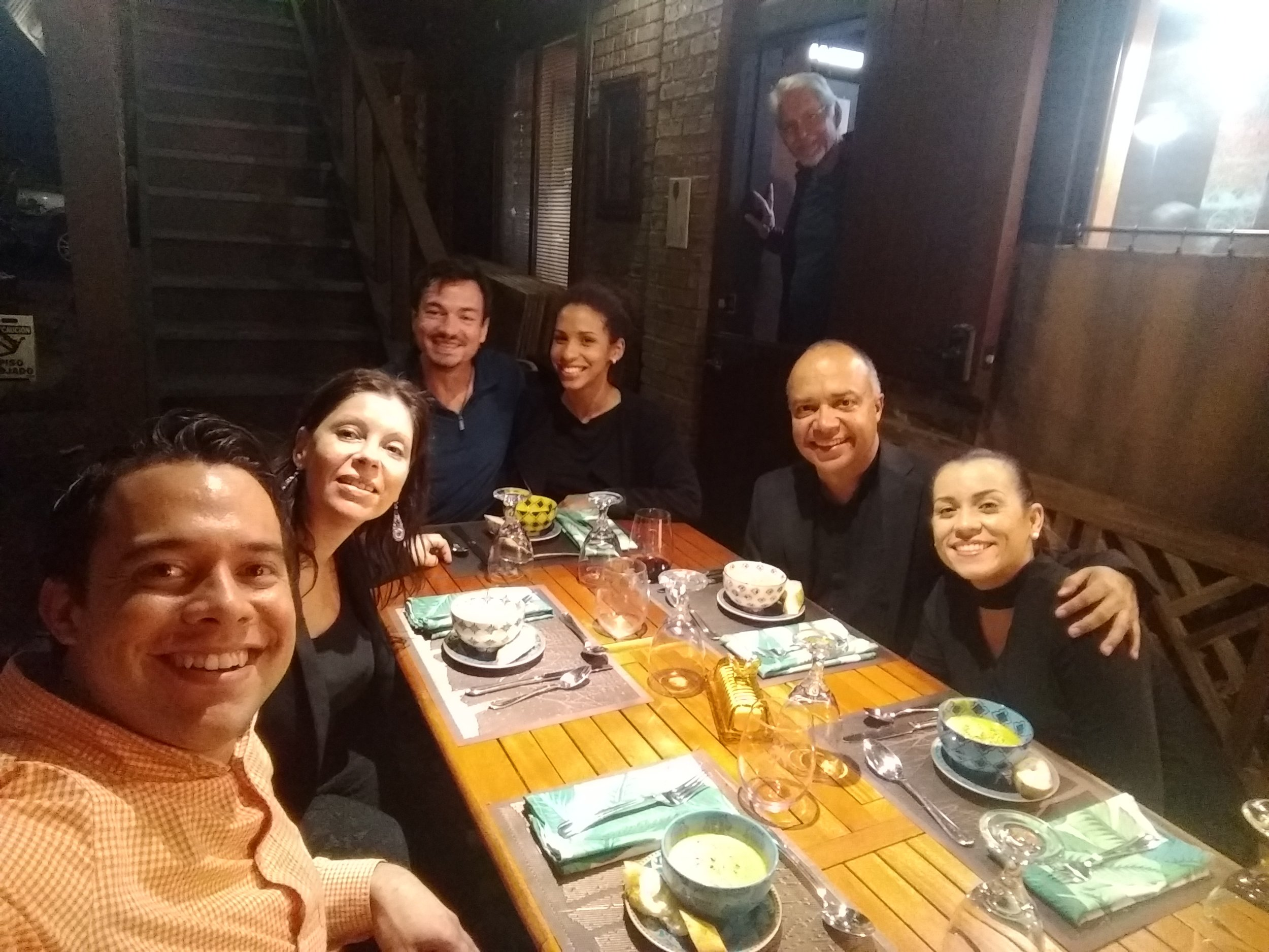 A photo of all performers! (Left to right: Reisaac Colón, Veronica Pellegrini, Robert Egan, Lilliana Marrero Solís, Luis Miguel Rojas, Rosa Sierra…and Bill in the background)