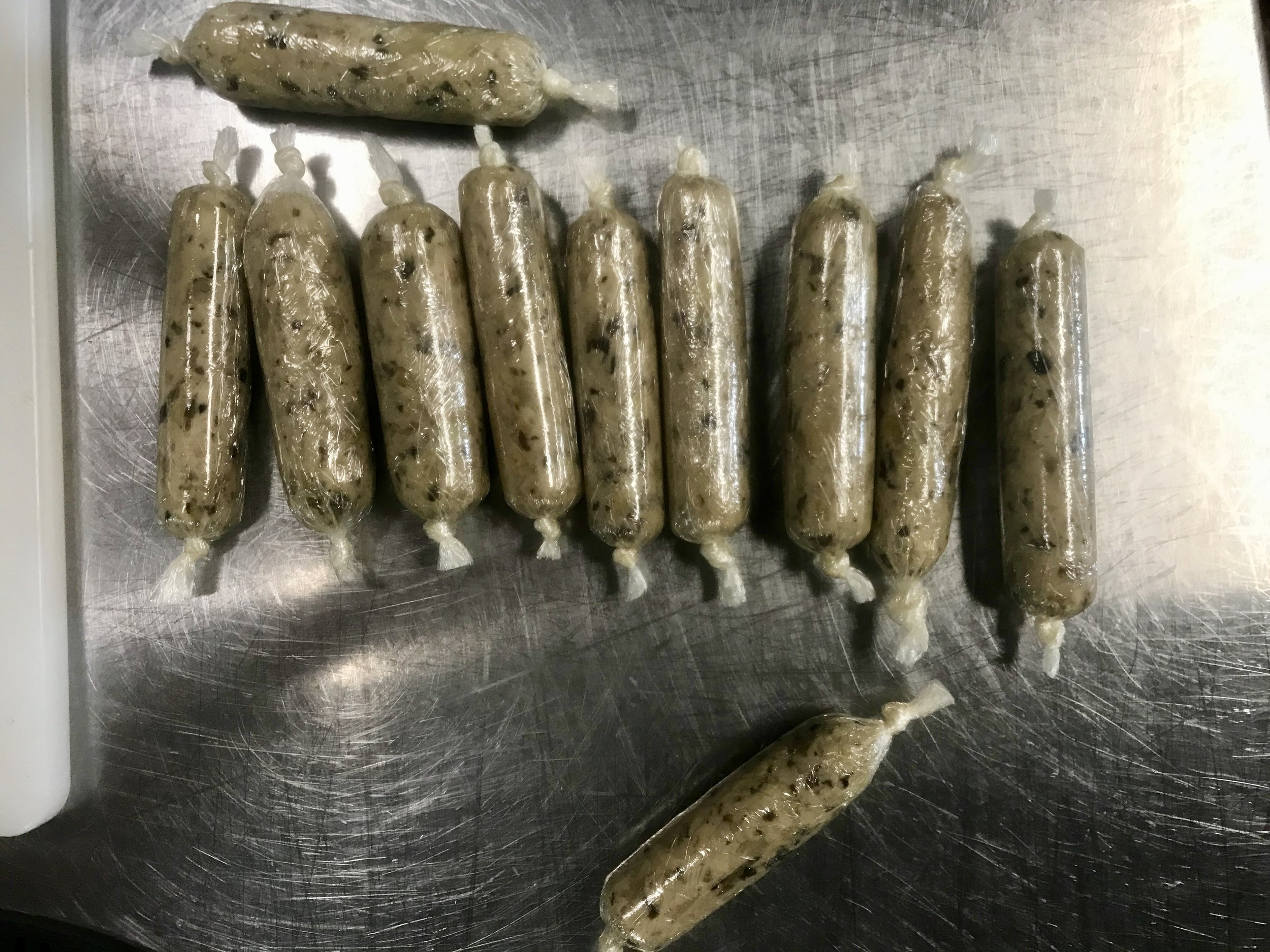 Veggie sausages after they had been rolled out and individually wrapped