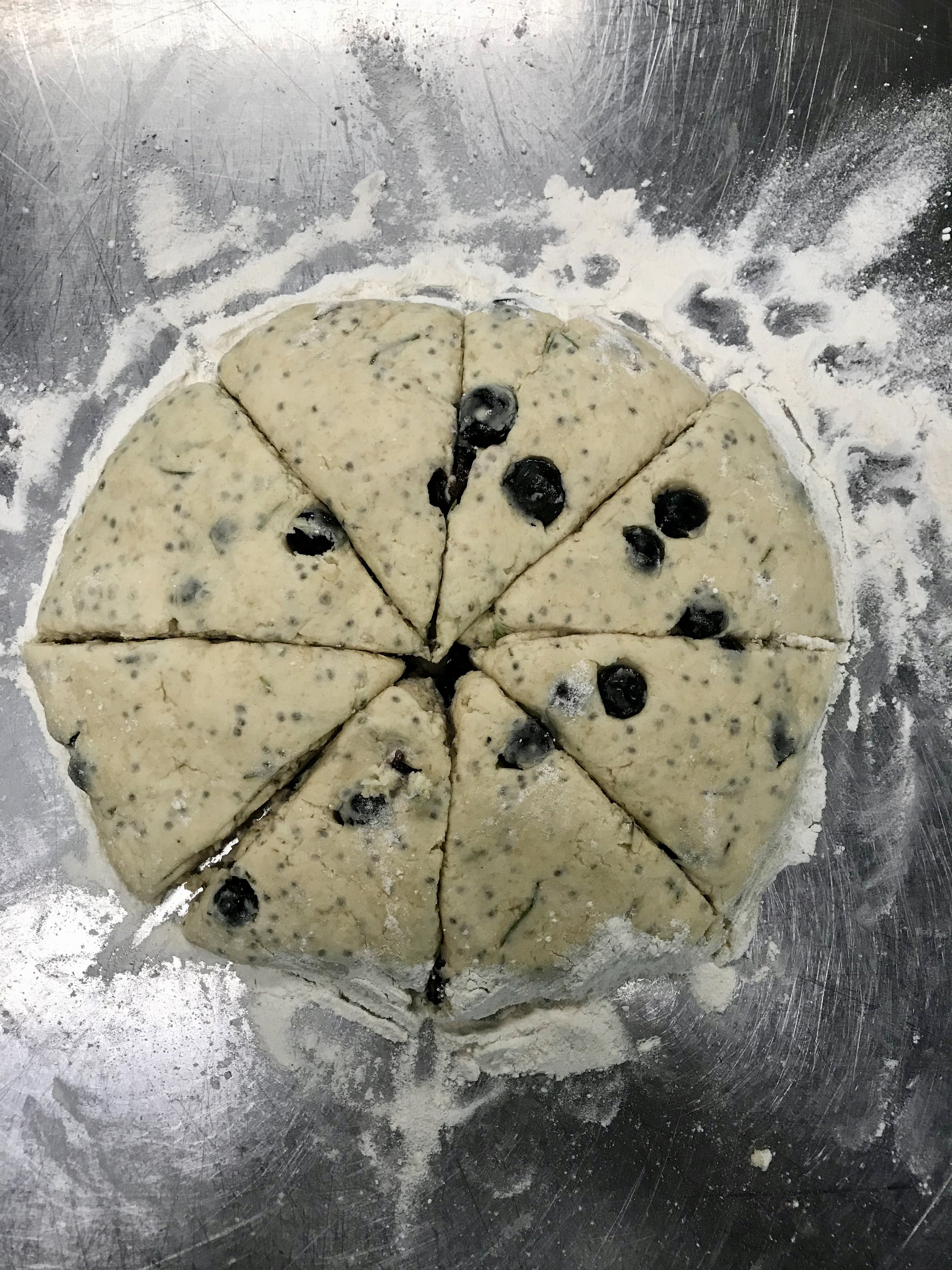 Rosemary blueberry scones before going in the oven