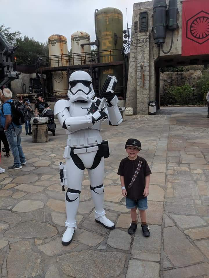 My son is a hugger and really wanted to hug the Storm trooper.