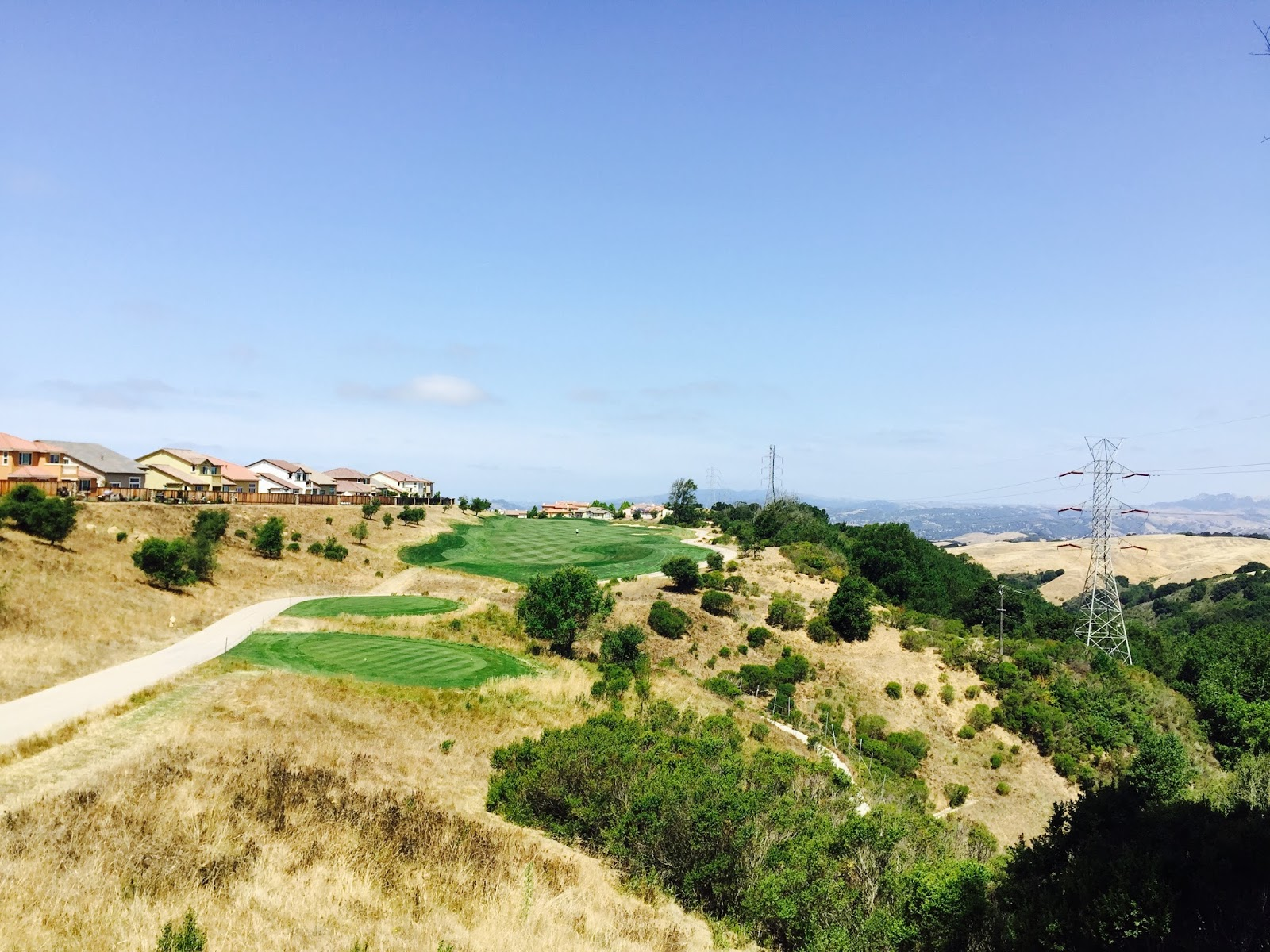 A view down the fairway of the 2nd hole from the tee box.