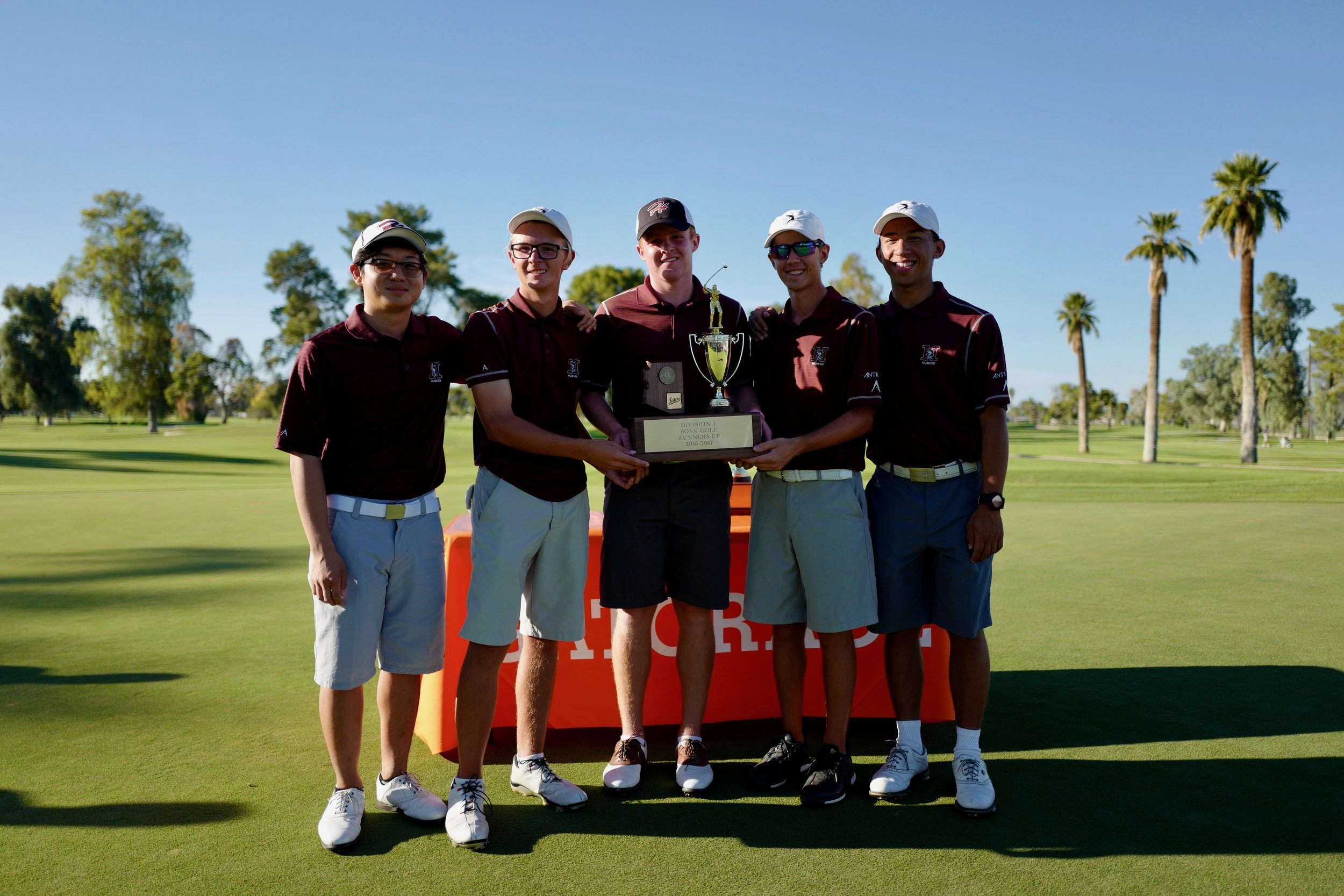 Hamilton Golf Team closed out the 2016 campaign with a runner-up finish at the 2016 Division-I State Championships. 2016 State Team (Left to Right: Trueman Park, Ryan Sanchez, Mason Andersen, Nic Hedman & Andrew Proctor)