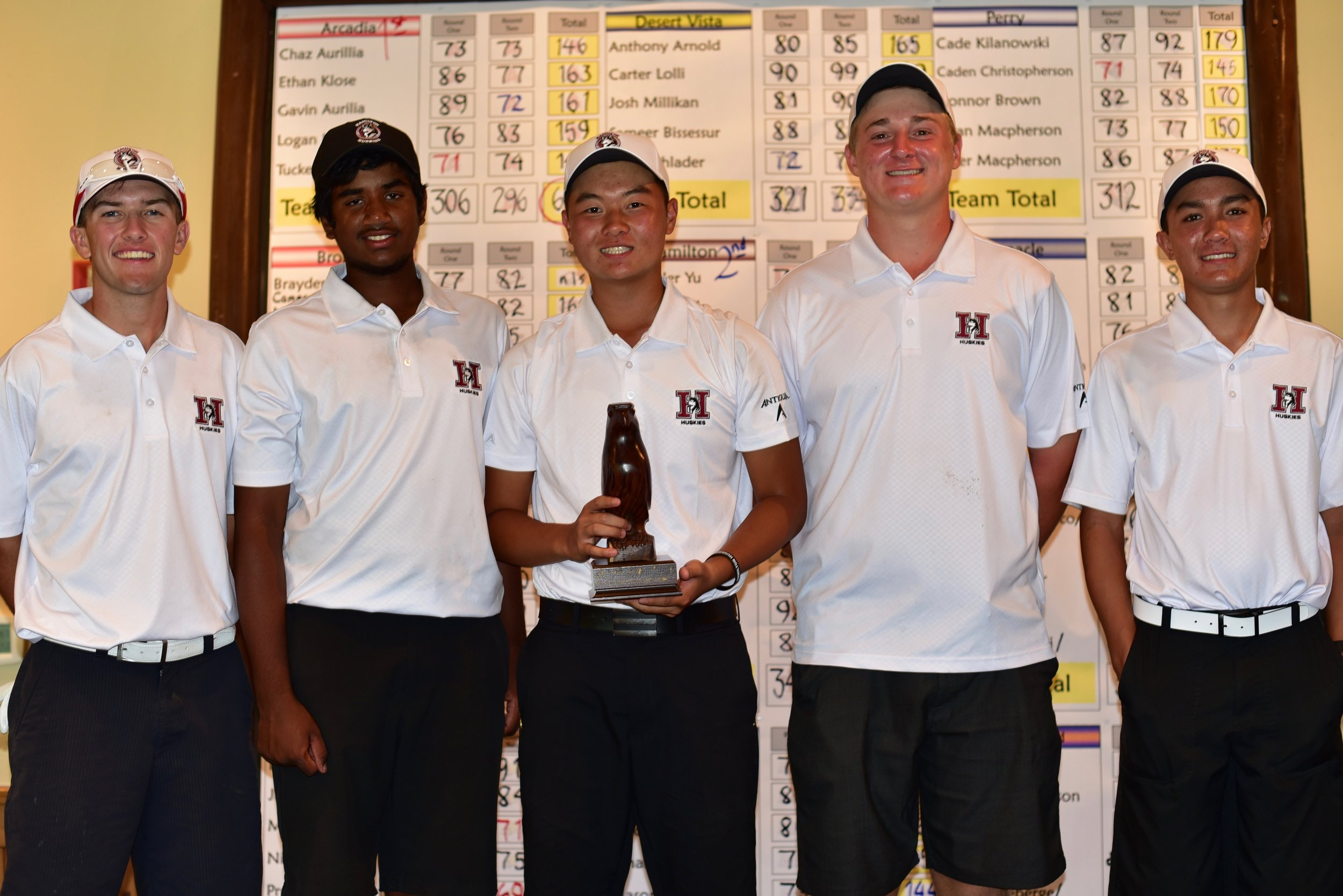 Left to right: Brandon Hill, Mahanth Chirravuri, Alexander Yu, Caden Rice & Johnny Walker  The HHS Boys Golf Team finished in 2nd place at the Brophy Invitational this weekend at Grayhawk Golf Club in Scottsdale. After a slow start in round one, the team roared back on Saturday's second round and passed five teams just to fall one shot short of 1st place Arcadia HS.    The team was led by sophomore Johnny Walker who finished in the top 10 individually with rounds of 74-72. Senior Alexander Yu who fired a second round score of 70 (-2) that included six birdies and freshman Mahanth Chirravuri 73-76 both tied for 11th place. Seniors Brandon Hill (78-84) and Caden Rice (86-79) contributed to the team performance.