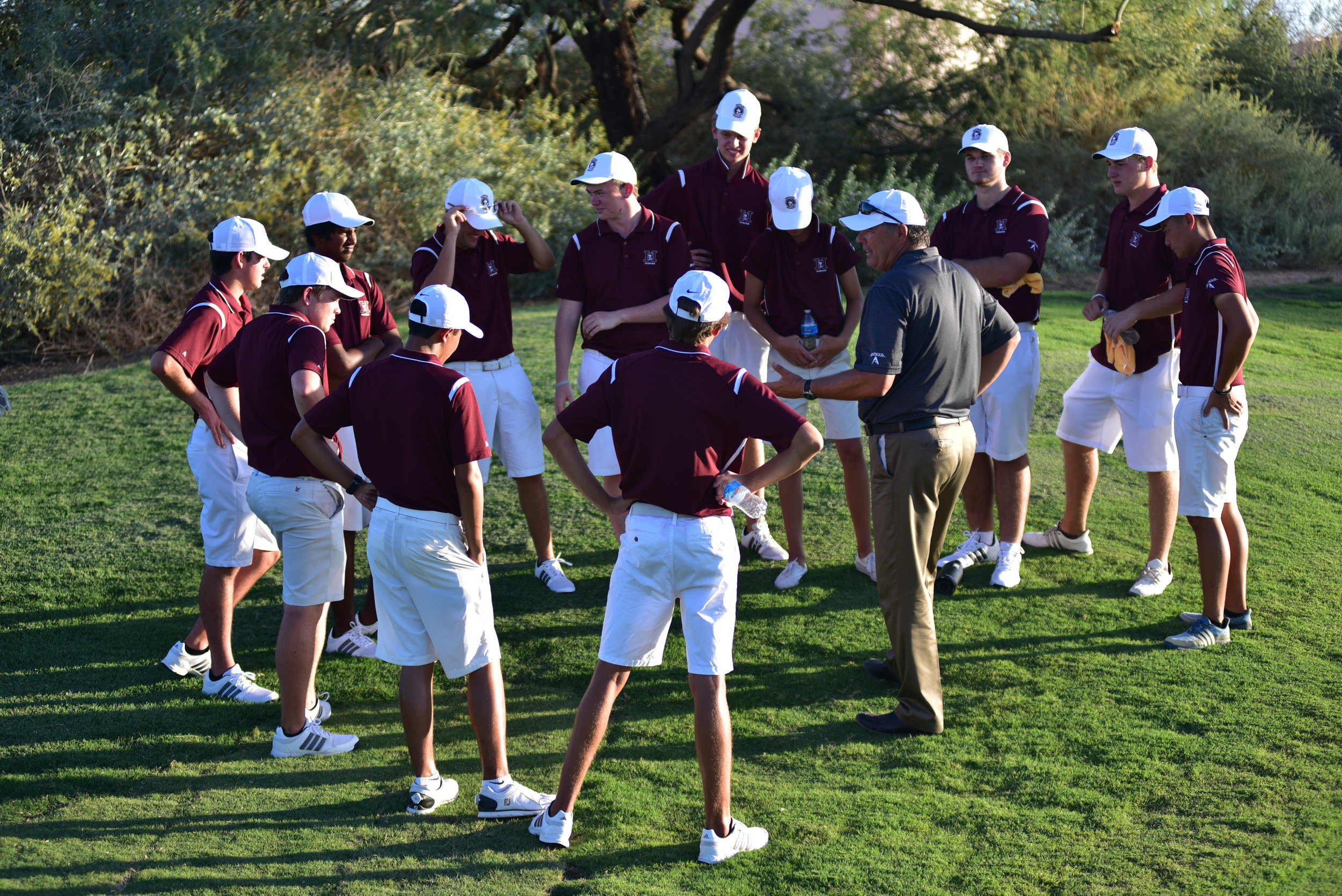 The HHS Boys Golf team continued its winning ways with an impressive match win against Williams Field, Highland and Higley HS at Whirlwind Golf Club in Chandler today. Senior Alexander Yu set a new school 9-hole Scoring Record with an incredible round of 31 (-5) that included 3 birdies and an eagle! Sophomore Johnny Walker also turned in an under par round of 35 and both senior Caden Rice and freshman Mahanth Chiravurri shot one over par 37's. Senior Kanoah Cunningham shot a 39 on the difficult Cattail Course.