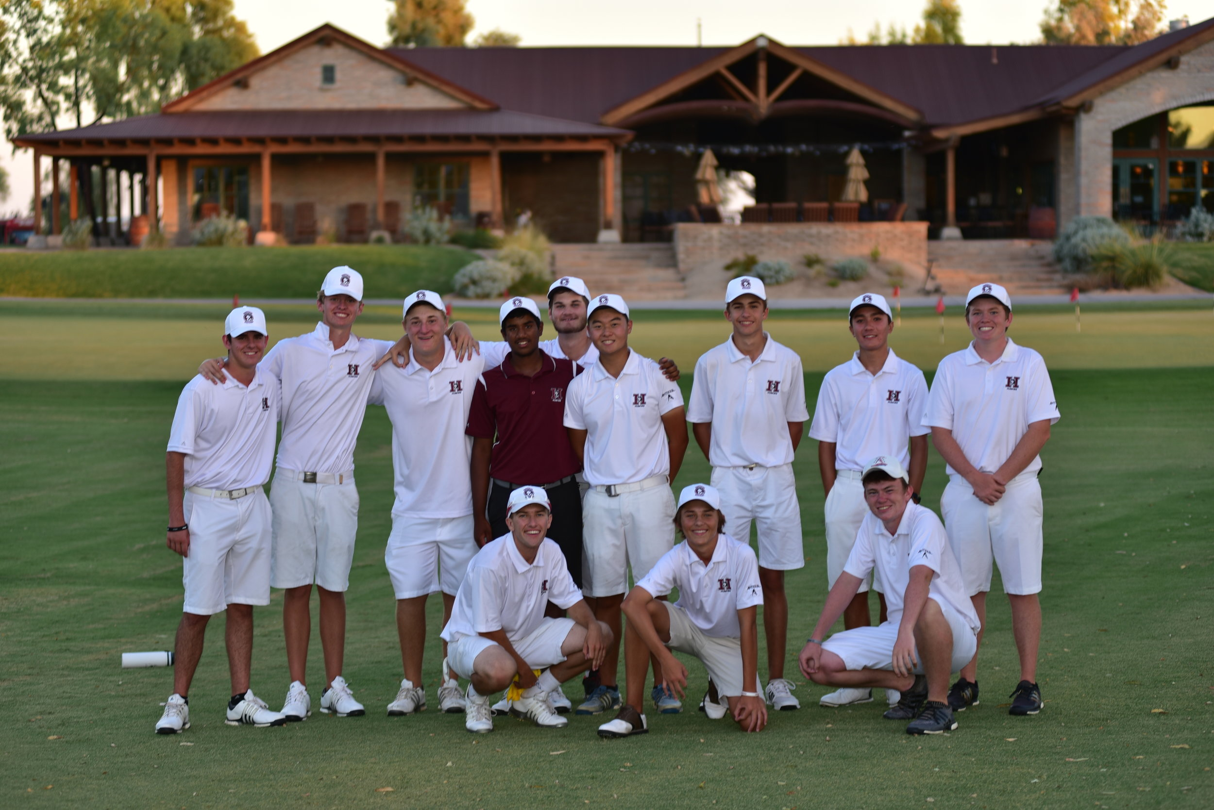 The HHS Boys Golf Team scored an impressive win yesterday in a match against Mt Pointe and Red Mountain High Schools at Southern Dunes Golf Course in Maricopa. The combined team score was 2 under par on a very tough course. Here are the team results:  1) Hamilton HS 142 (-2)  2) Red Mountain HS 172 (+28)  3) Mt Pointe HS 177 (+33)  HHS sophomore Johnny Walker was the match medalist with an outstanding round of 33 (-3)! All five HHS starters finished in the top 6 individually. Here are the HHS individual results: Johnny Walker 33, Mahanth Chirravuri 35, Alexander Yu 37, Caden Rice 37, Noah Bates 42.  Next up for the Huskies is a trip to Fort Worth, Texas next week to play in the prestigious Bart Granger Memorial, an event that includes all of the best high school golf teams in Texas.