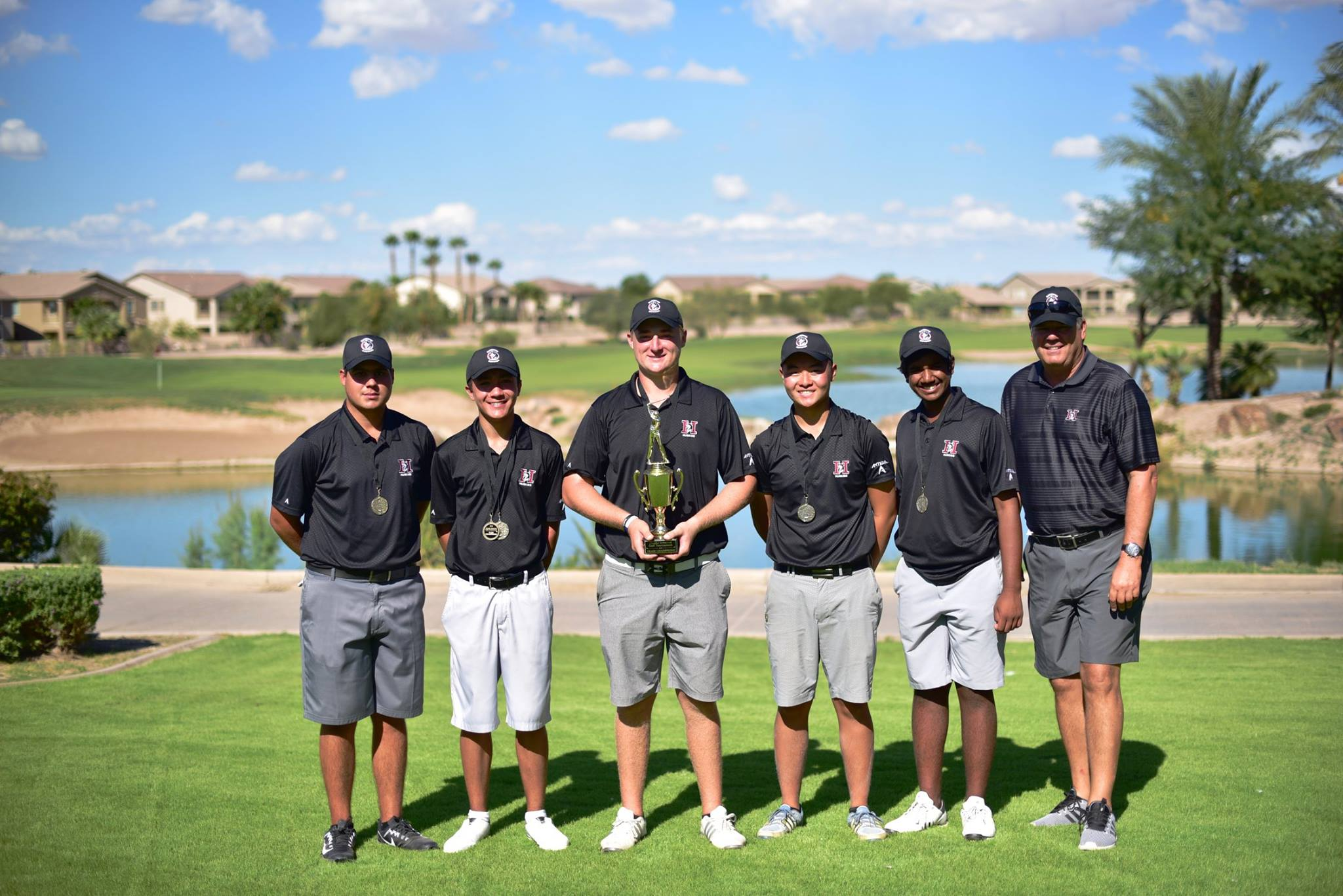 The HHS Boys Golf Team held on to victory by two shots at the 2018 Chandler City Invitational played at The Duke GC in Maricopa this weekend. It was the team's 8th victory in the event in the last ten years! (Left to right: Alejandro de Zavala, Johnny Walker, Caden Rice, Alexander Yu, Mahanth Chirravuri, & Coach Steve Kanner)  Team Results  1. Hamilton +4  2. Perry +6  3. Corona Del Sol +14  4. Desert Vista +49  5. Basha +55  6. Mountain Pointe +95  7. Chandler +145  8. Campo Verde +169
