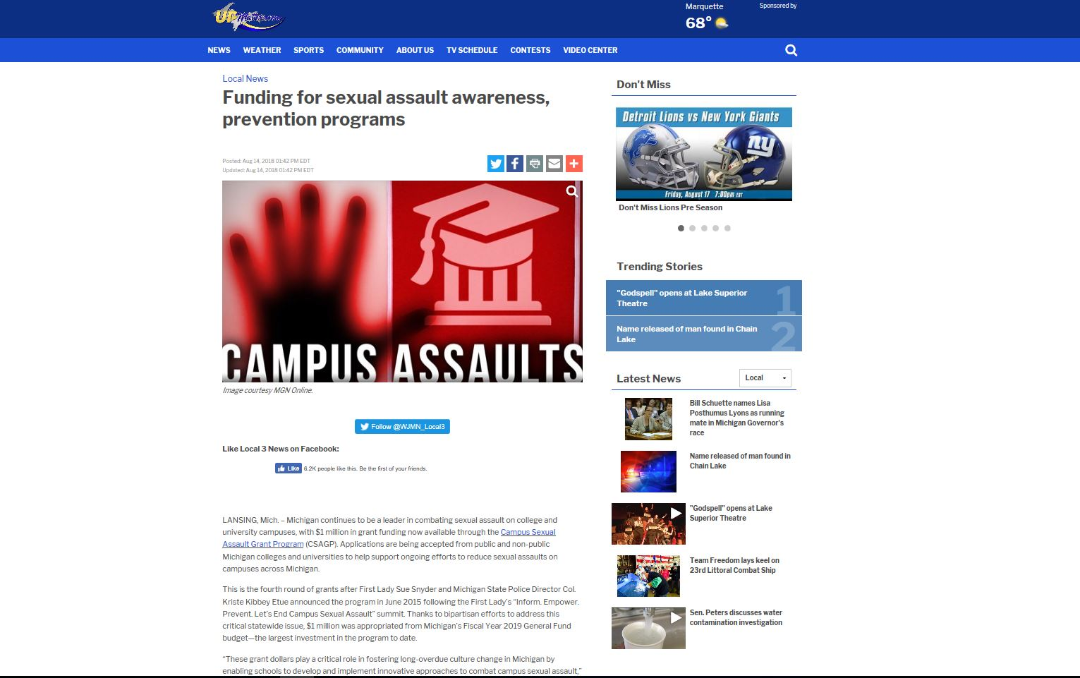 Funding for sexual assault awareness, prevention programs -