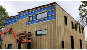 Rockwool batt installation with furring strips for future vented cladding.