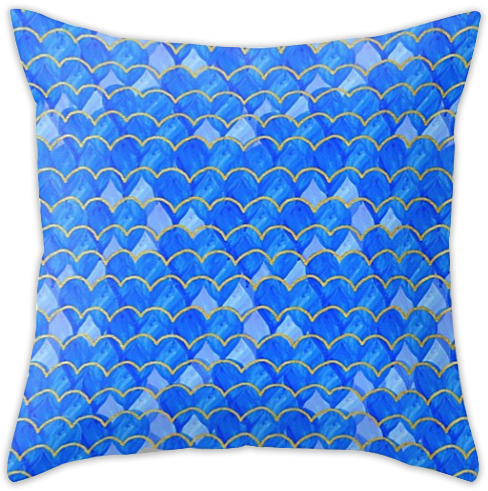 Blue, White & Gold Mermaid pillow  - sold in my   Society6 shop