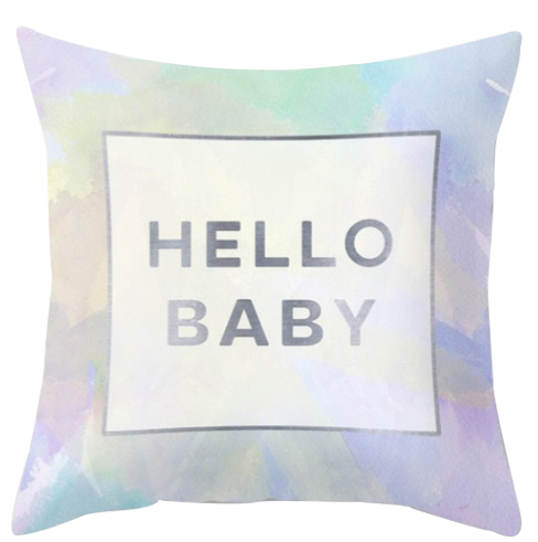 Hello Baby pillow - sold in my   Society6 shop