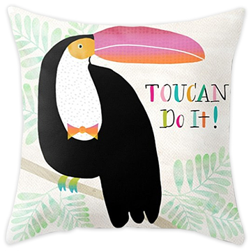Toucan Do It! throw pillow  - sold in my   Society6 shop