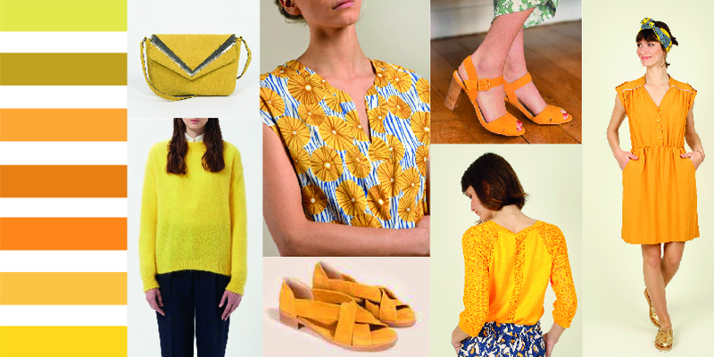 Nuancier des tenues jaunes présentes dans le dressing de La Malle Française.