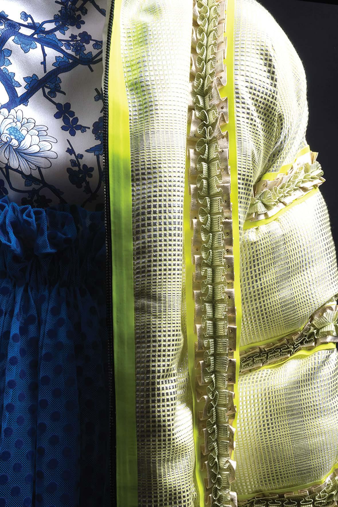 Silk dress, with polka dot flocked tulle, metallic woven custom trim puff jacket shot by Kristopher Dobbins..