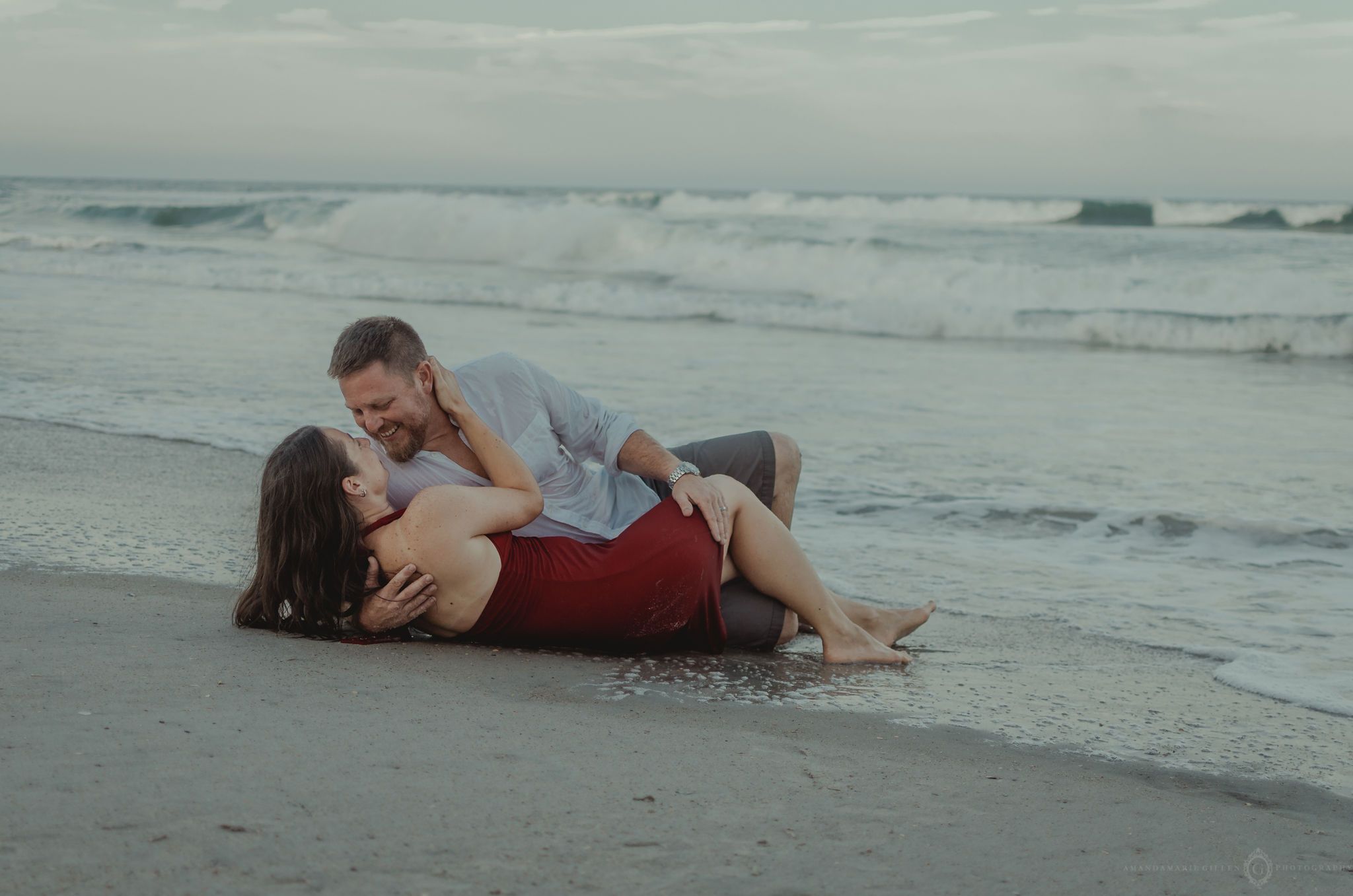 sexy wet couples photos in the water at wilmington, nc beach