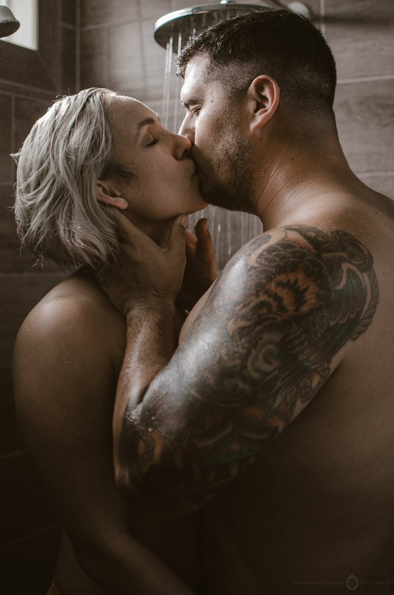 intimate in home couples portrait session shower boudoir wilmington nc