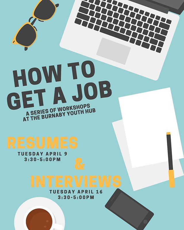 With summer fast approaching, are you starting to think about trying to get a summer job? ☀️ Join us this month for our 'HOW TO GET A JOB' series! 😁⠀⠀⠀⠀⠀⠀⠀⠀⠀ TUESDAY APRIL 9 - 3:30-5PM - RESUME BUILDING 🌸 TUESDAY APRIL 16 - 3:30-5PM - INTERVIEW SKILLS ✨ ⠀⠀⠀⠀⠀⠀⠀⠀⠀ Both workshops will be very low-key and are open to all youth - even youth who haven't been employed before!