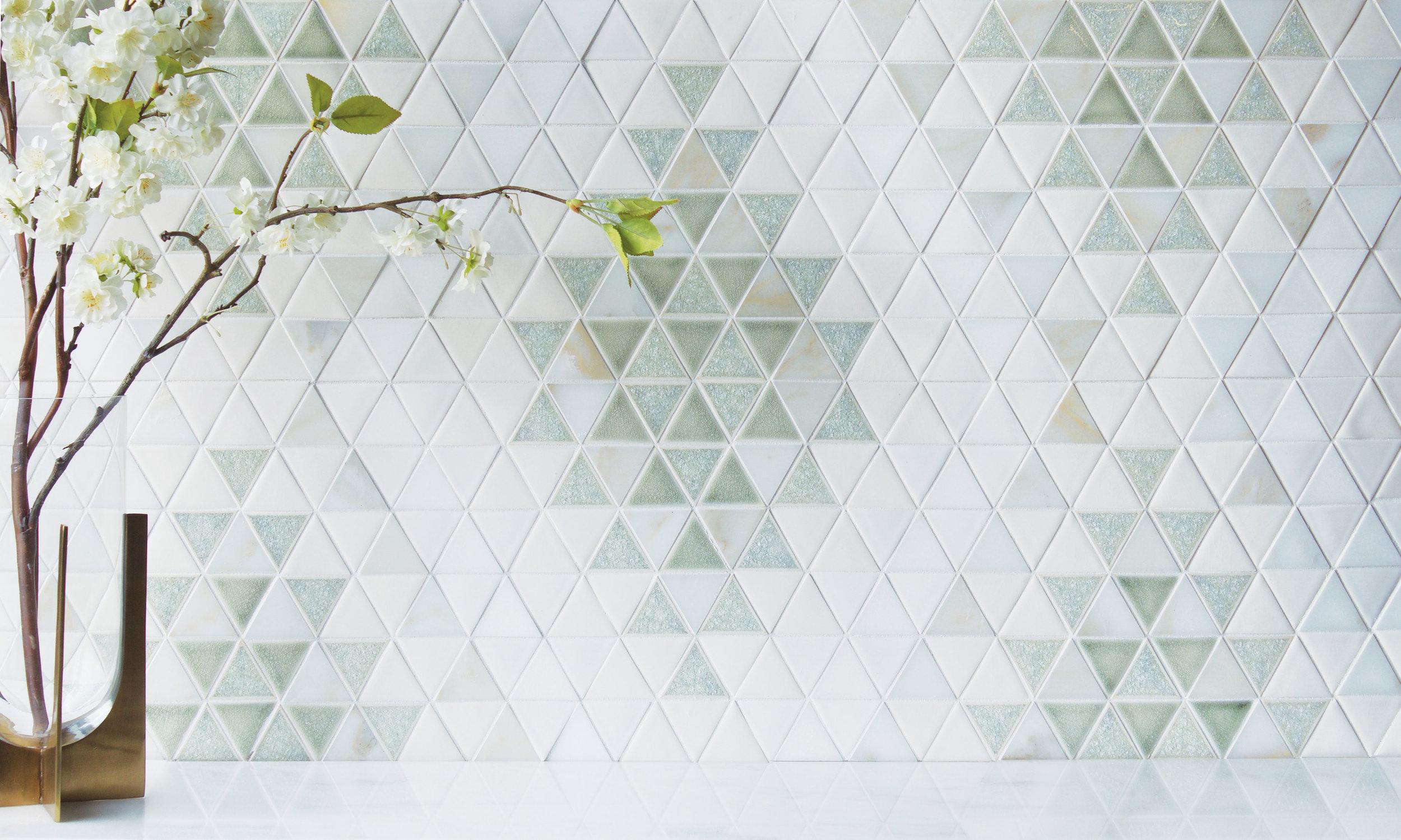 EN - Encore -Triangle Kilim Pattern Rain quartz, Cashmere crackle, Alabaster sheer, Milk gloss, Calacatta, Thassos - Mosaic - Backsplashes.jpg