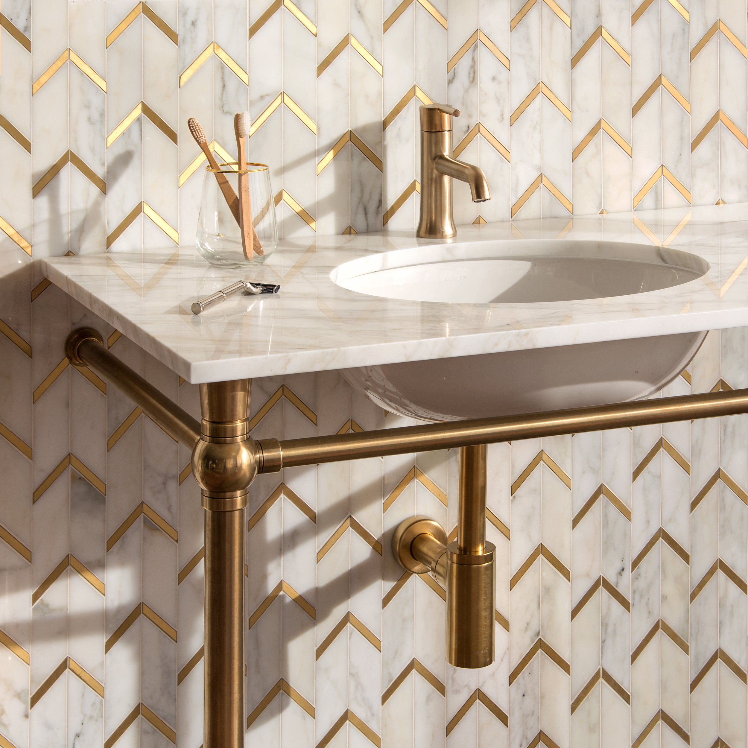 NR - NewRavenna - Belen Calacatta and Brass - Mosaic - Bathroom.jpg