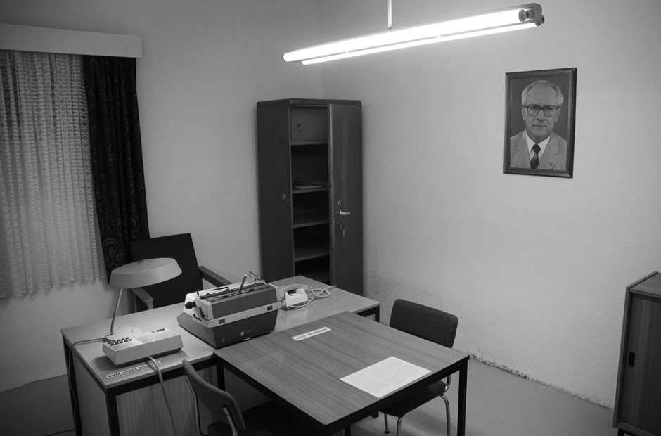 Original Stasi interrogation room as documented by the civil activists when storming the Stasi headquarters during the peaceful revolution end of 1989.