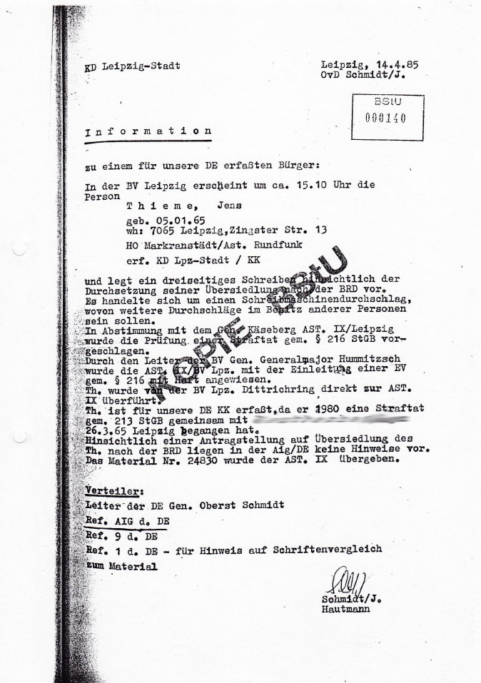 Copy from my Stasi file that I reviewed in 1990.