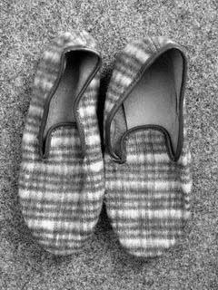 Original pair of slippers as used in the Stasi pretrial prison facilities in Leipzig.