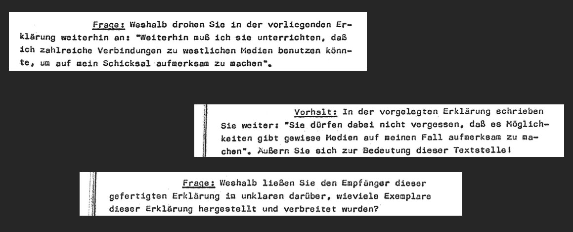 """""""Why are you threatening in the document that you might use certain connections to Western media to make aware of your situation?""""""""You also write: 'don't forget that there are possibilities to involve Western media'. Elaborate defendant!""""""""Why do you retain uncertainty about the number of copies and their distribution?"""""""