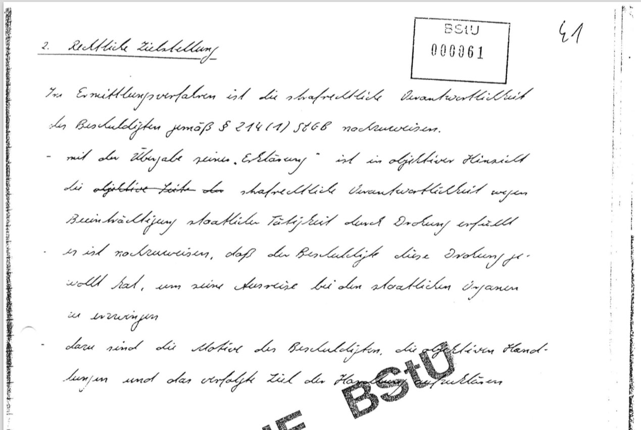 This is from Baby Schubert's handwritten interrogation script. I obtained it in the early 90's from my Stasi file.  Preparing the charge the investigation revolves around §214, Impairment of state and social activity.