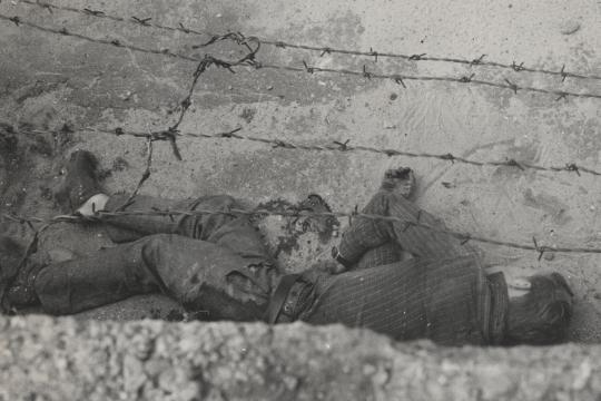 On 17 August 1962 Peter Fechter , age 18, became one of the first victims of the Berlin Wall's border guards. When trying to escape over the fences with a friend he got shot several times and was left to bleed to death for over an hour.