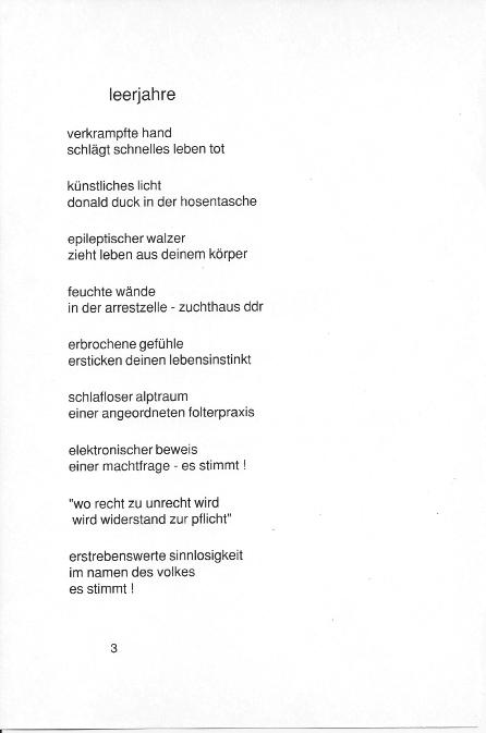 "Jens Thieme poem "" leerjahre "" from his book: ' Kopfgeburt '."