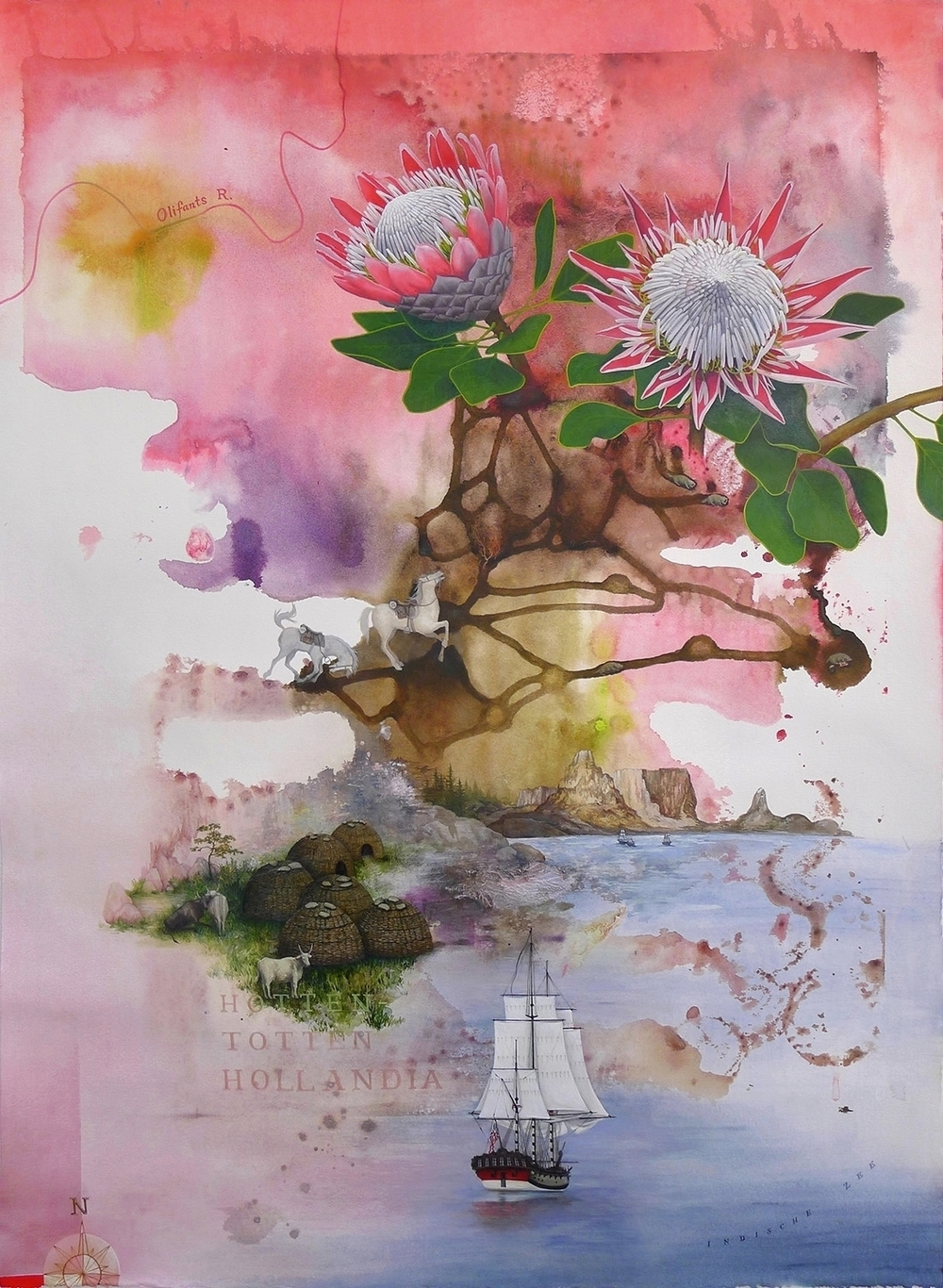 Hotten Totten Hollandia,  2014, Acrylic over Monoprint on Paper, 77 cm x 55.5 cm