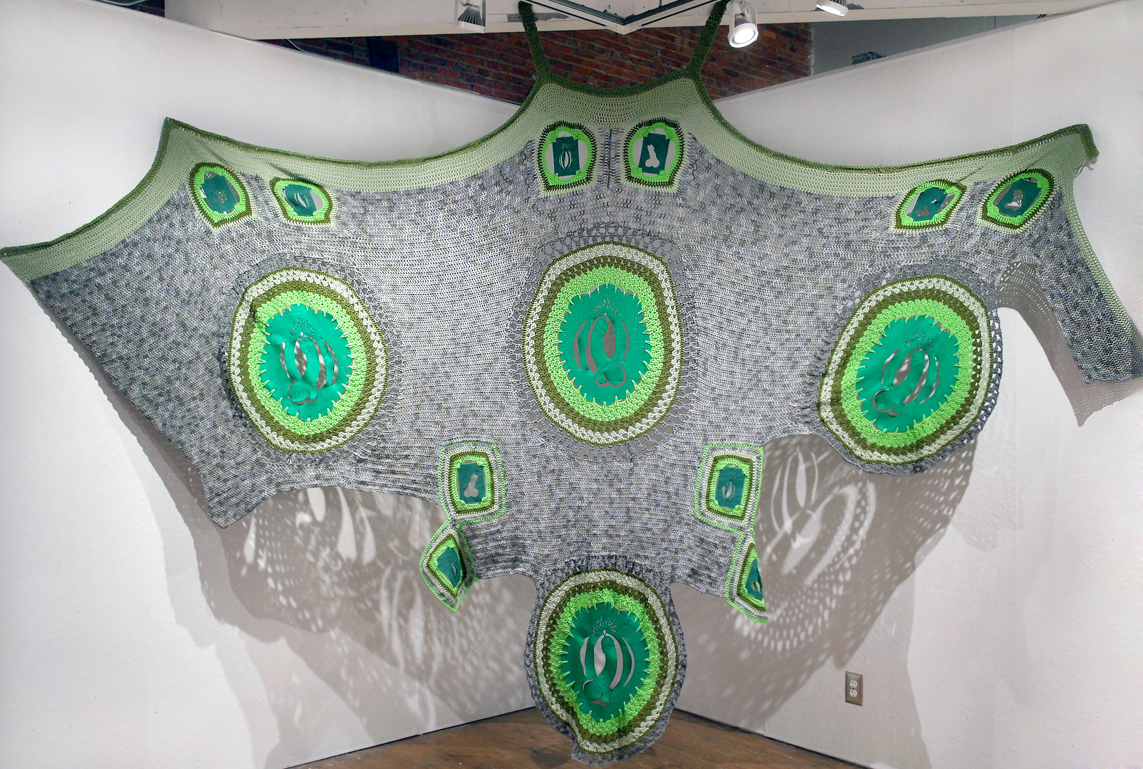 Always Greener (Weiner), 2014, Yarn, jute, scouring pads, felt., 112 x 161 inches