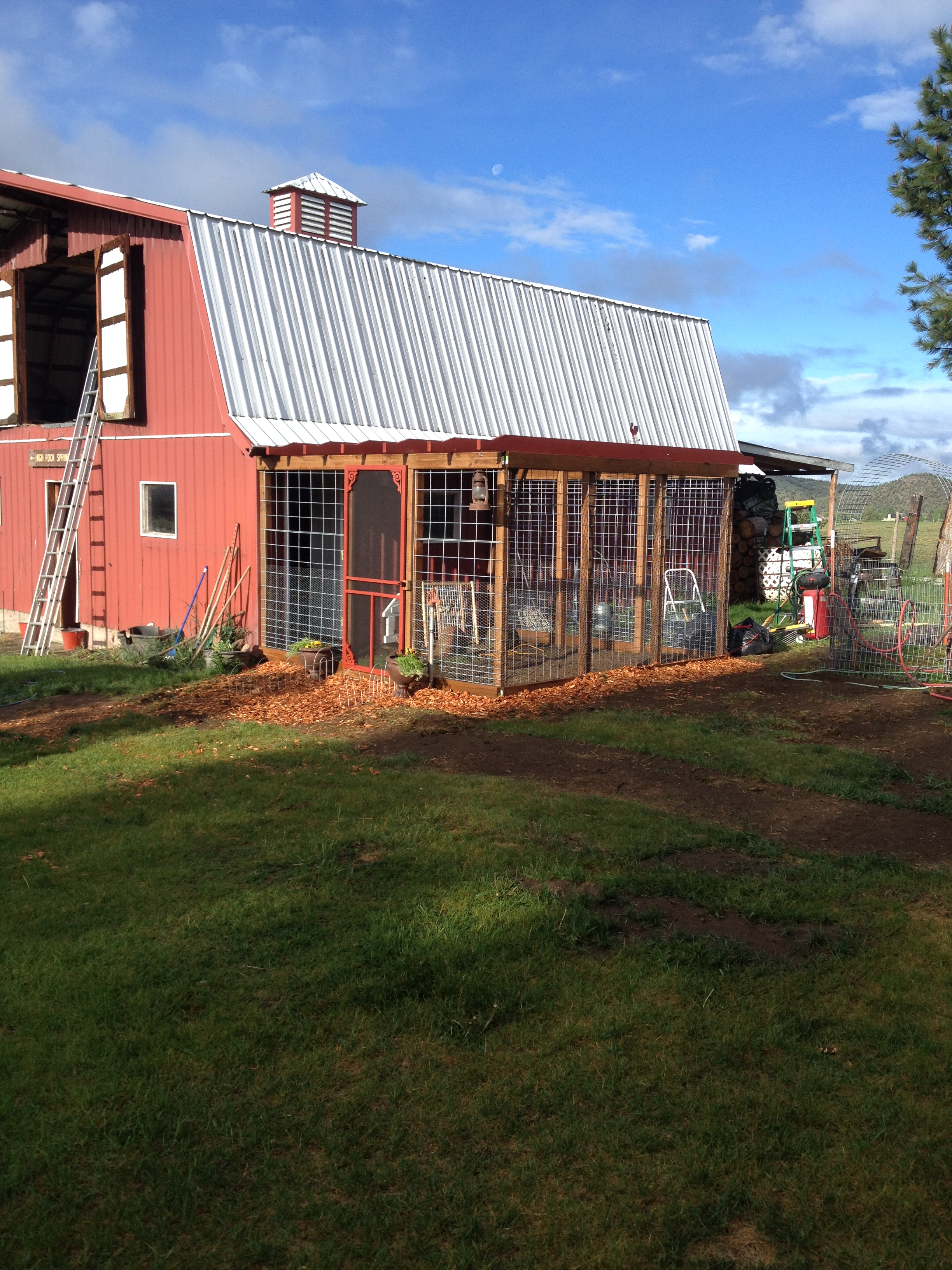 The hen house here on the farm just after we finished building it.