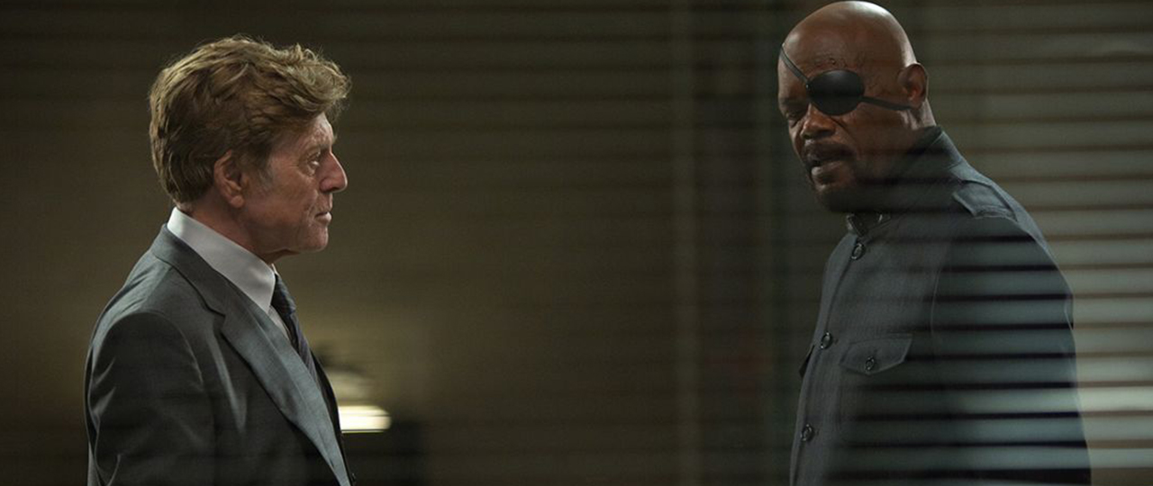 Robert Redford and Samuel L. Jackson in Captain America: The Winter Soldier (2014).