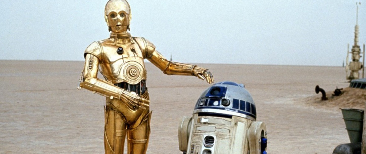 R2-D2 and C3-P0 in  Star Wars (1977).