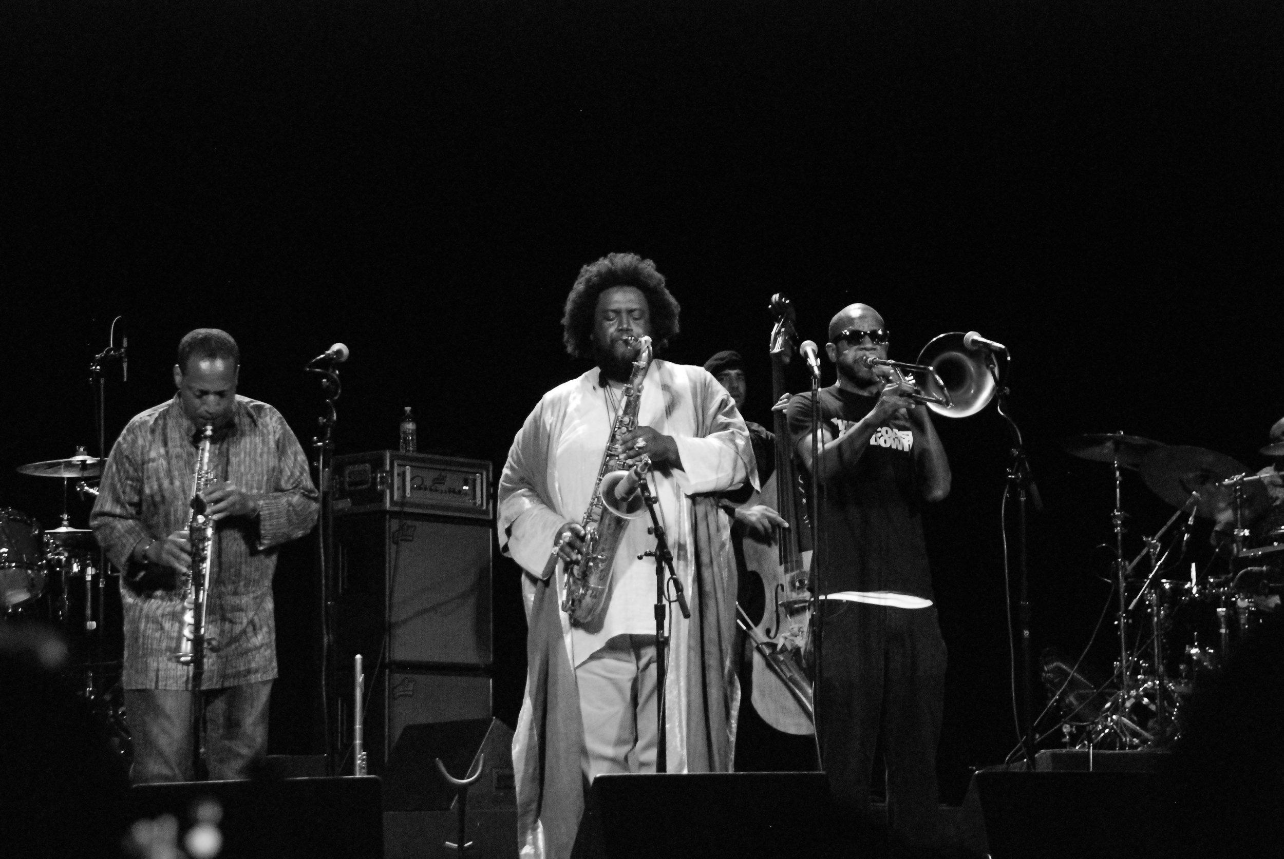 From Left to Right: Rickey Washington (Soprano Sax), Kamasi Washington (Tenor Sax), Miles Mosley (Bass), Ryan Porter (Trombone)