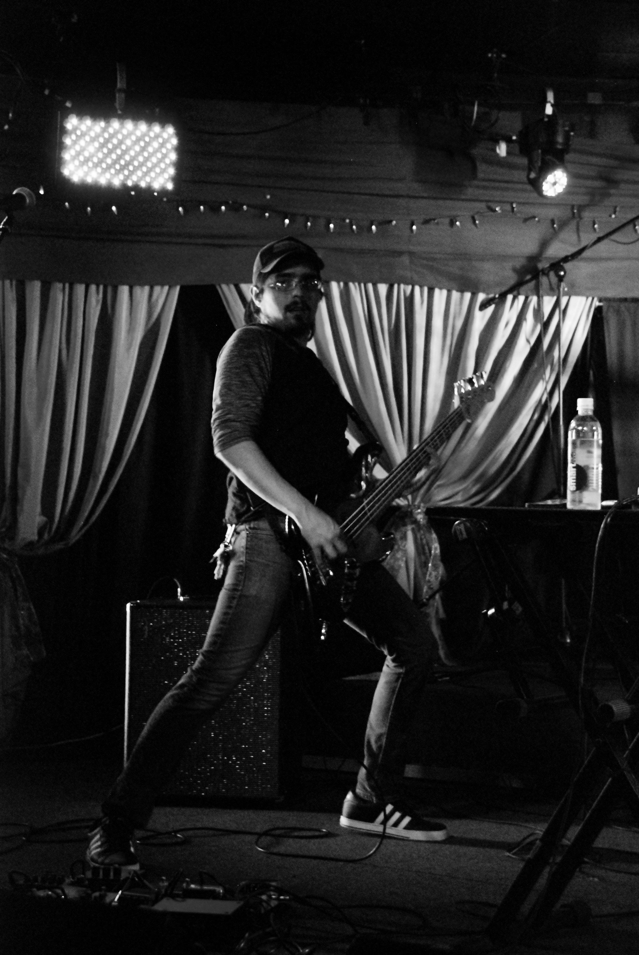 Jeff Kaslowski with bass guitar